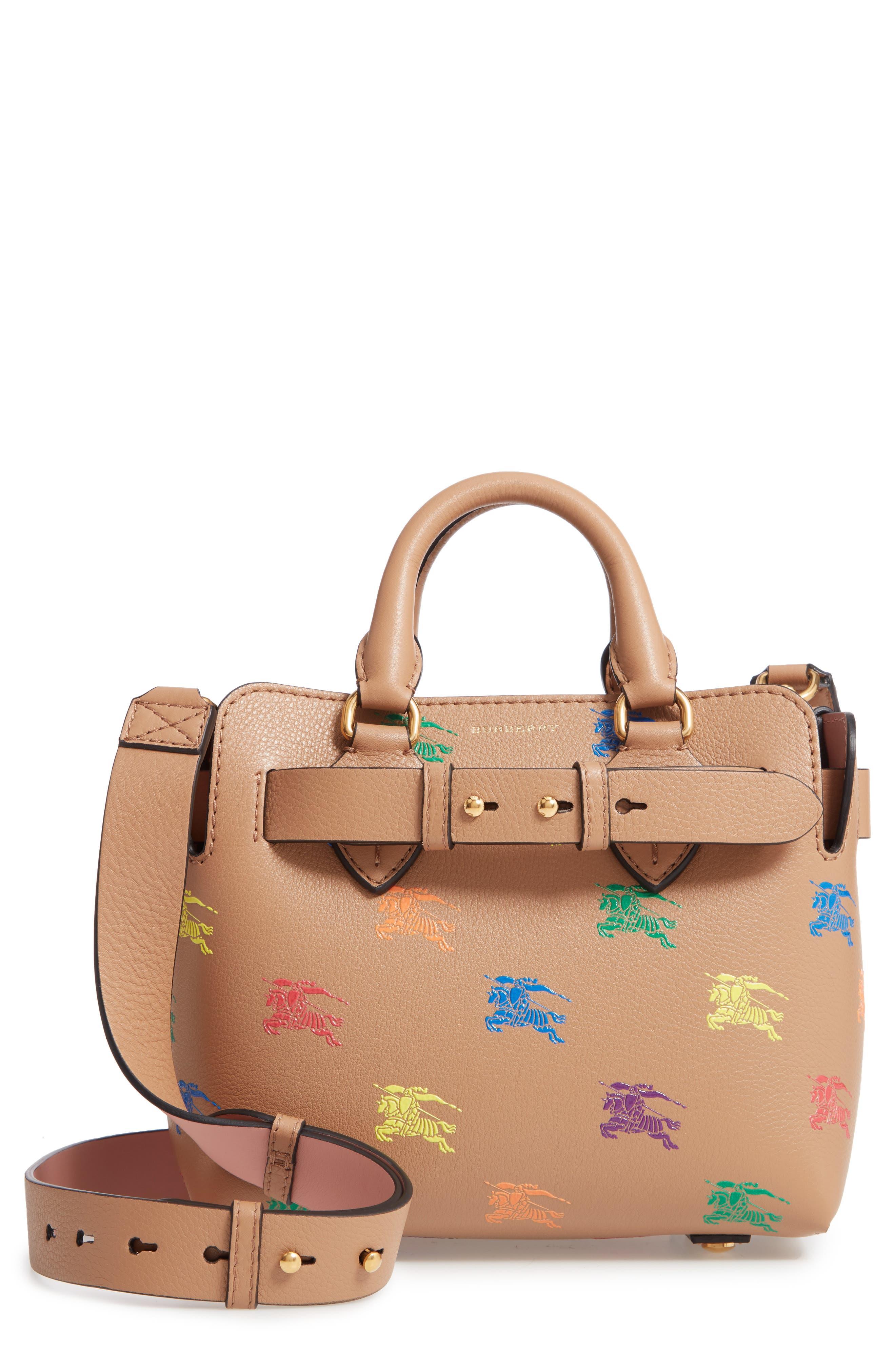 Baby Belt Bag Rainbow Logo Leather Tote,                         Main,                         color, LIGHT CAMEL