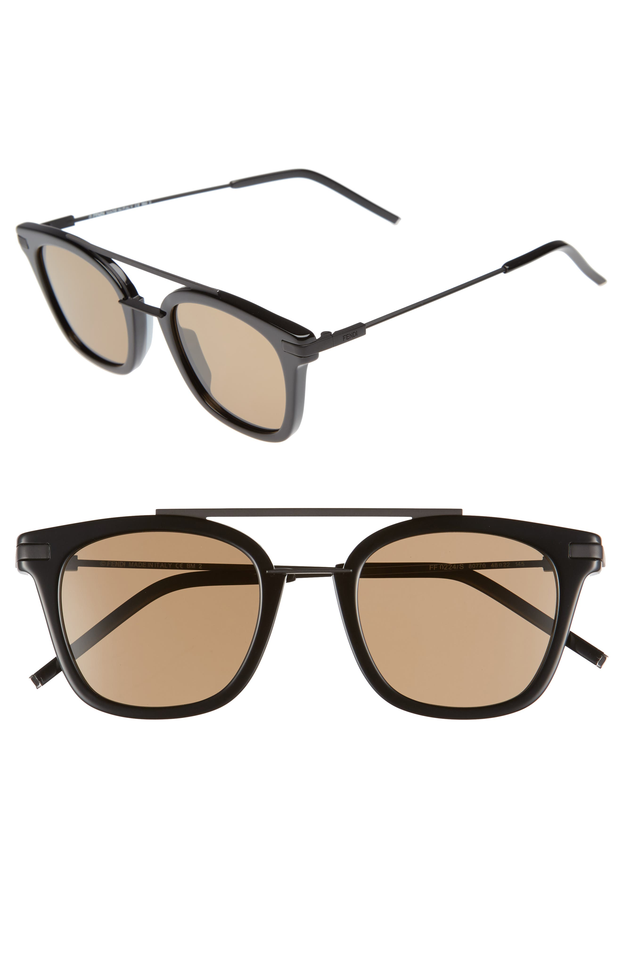 48mm Sunglasses,                         Main,                         color, BLACK