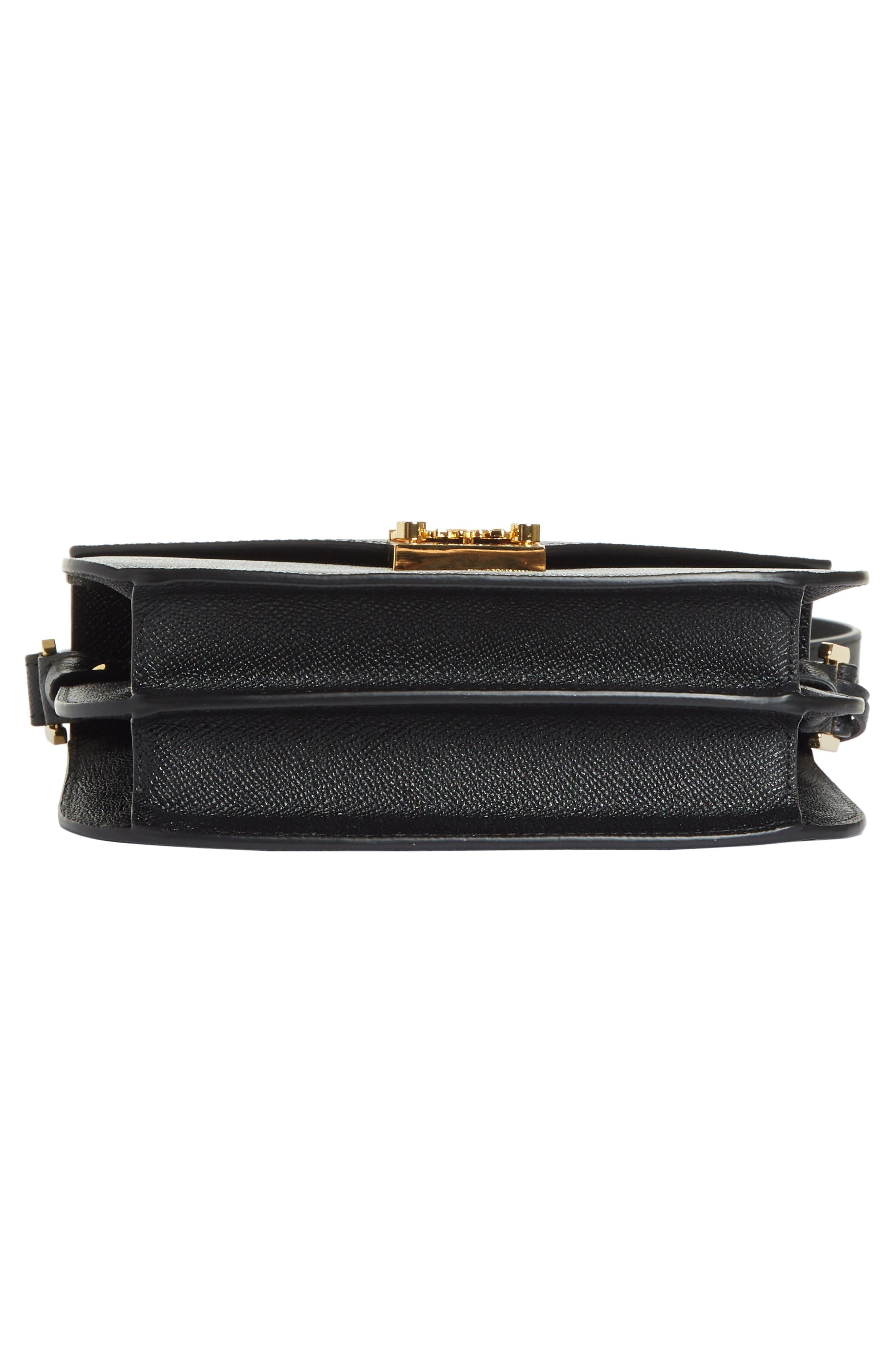 Small RGB Leather Shoulder Bag,                             Alternate thumbnail 6, color,                             BLACK