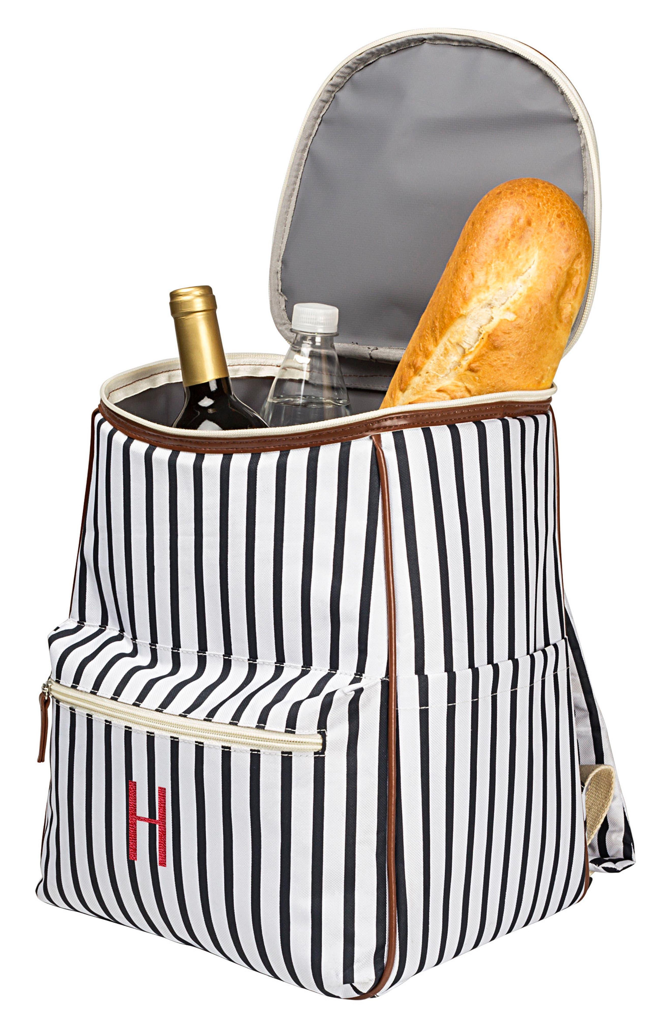 Monogram Stripe Backpack Cooler,                             Alternate thumbnail 6, color,                             BLUE