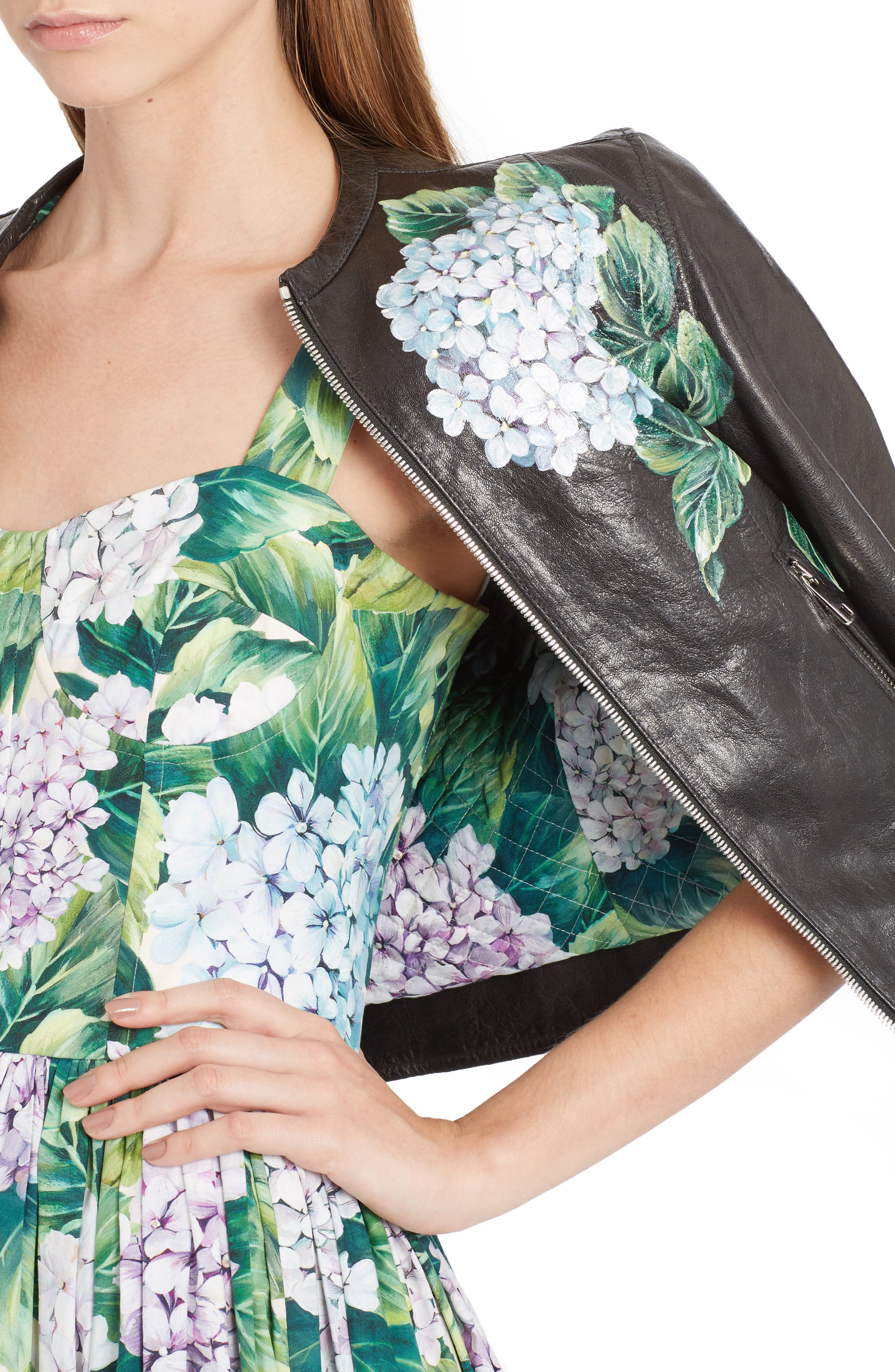 Hydrangea Painted Leather Jacket,                             Alternate thumbnail 4, color,