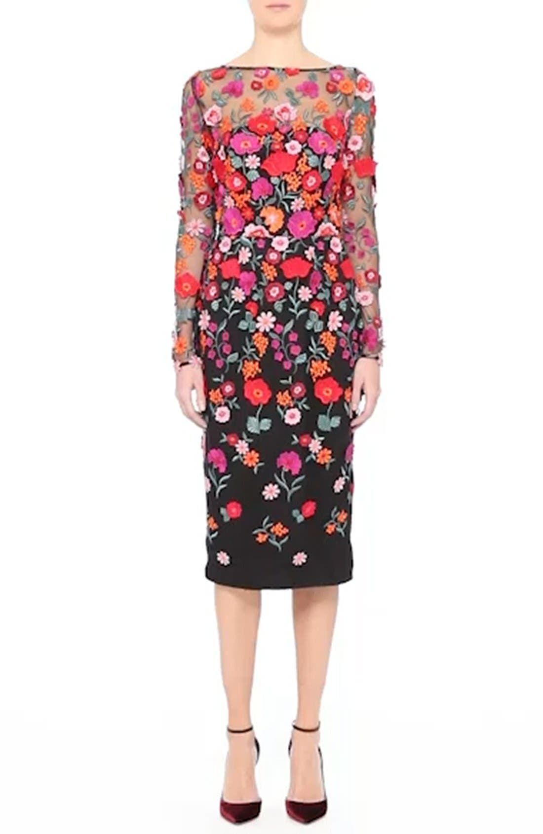 Floral Embroidered Pencil Dress,                             Alternate thumbnail 7, color,                             001