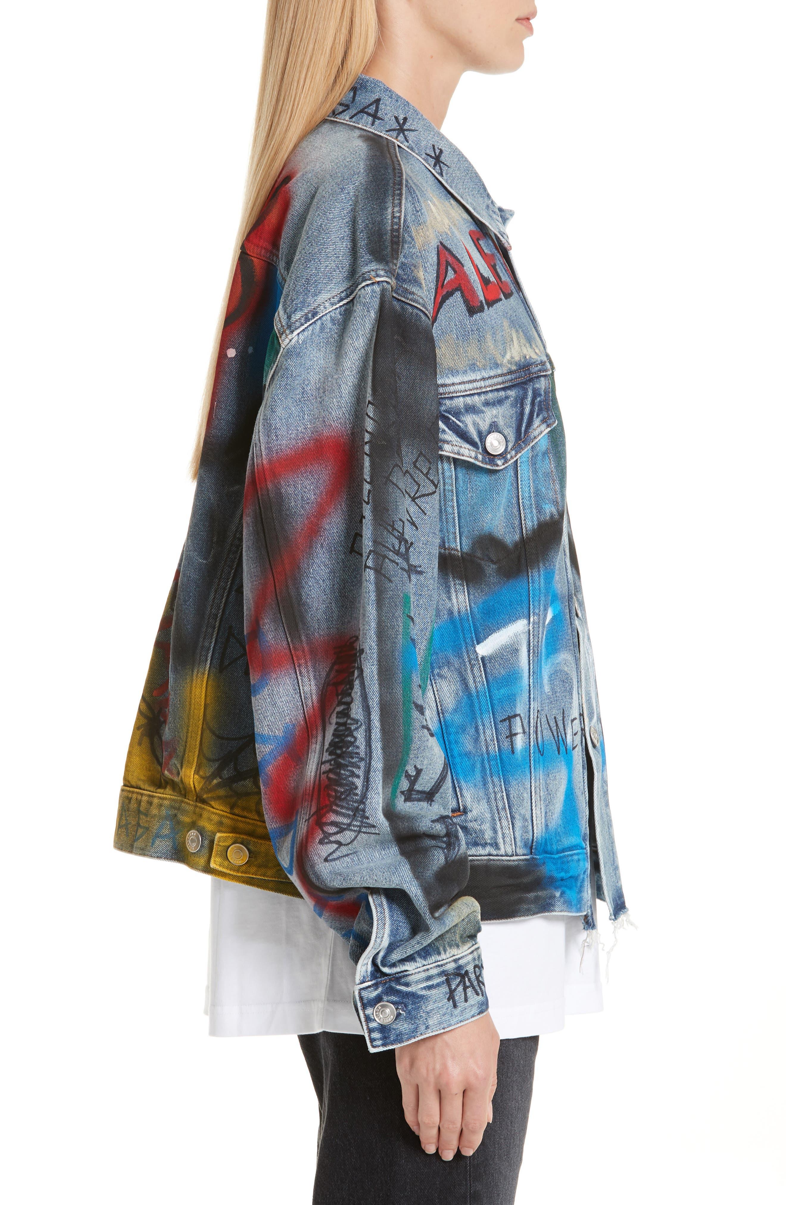 Graffiti Print Denim Jacket,                             Alternate thumbnail 3, color,                             400