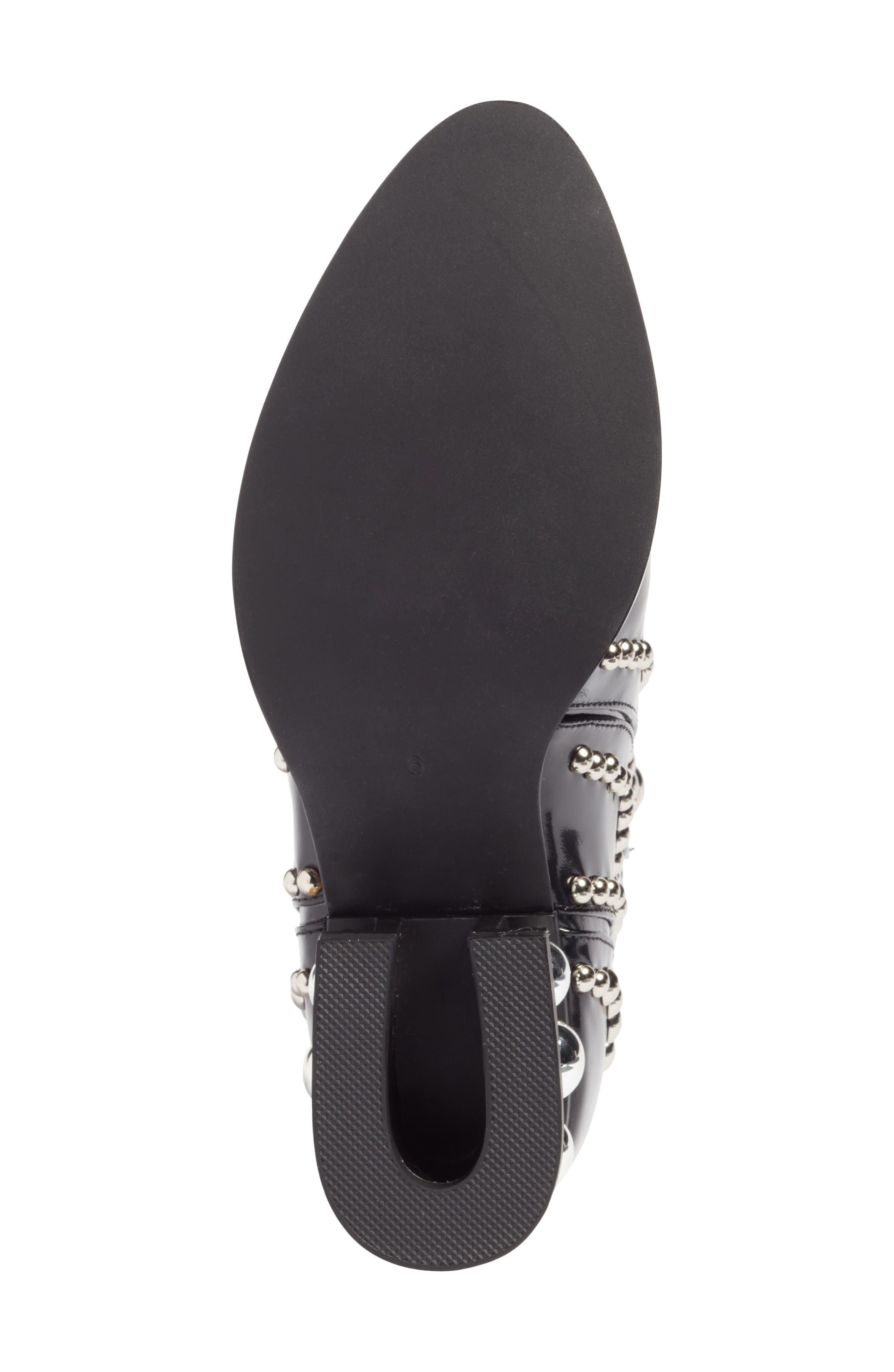 Rylance Studded Bootie,                             Alternate thumbnail 6, color,                             BLACK BOX SILVER LEATHER