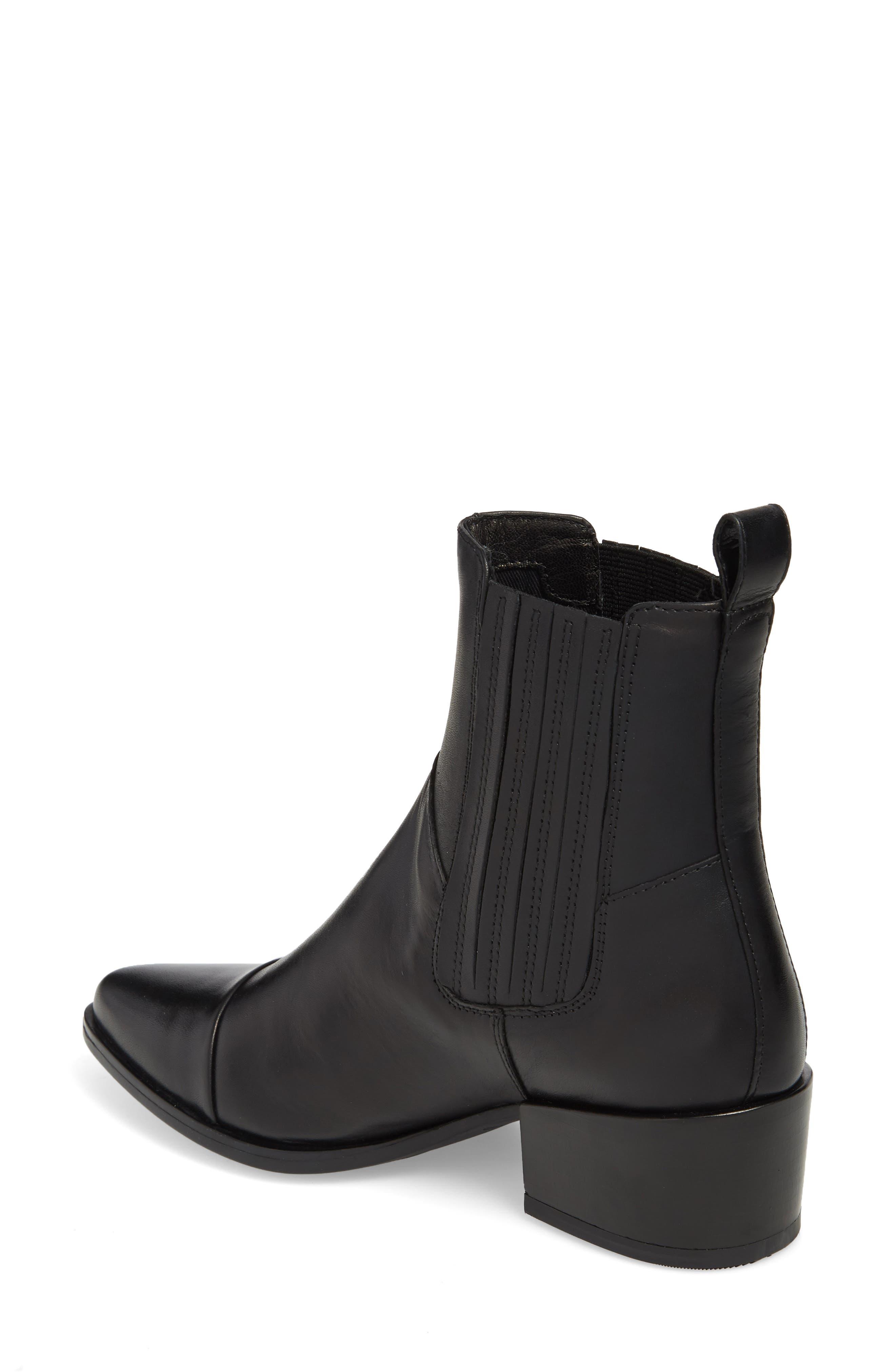 VAGABOND,                             Shoemakers Marja Cap Toe Bootie,                             Alternate thumbnail 2, color,                             BLACK LEATHER