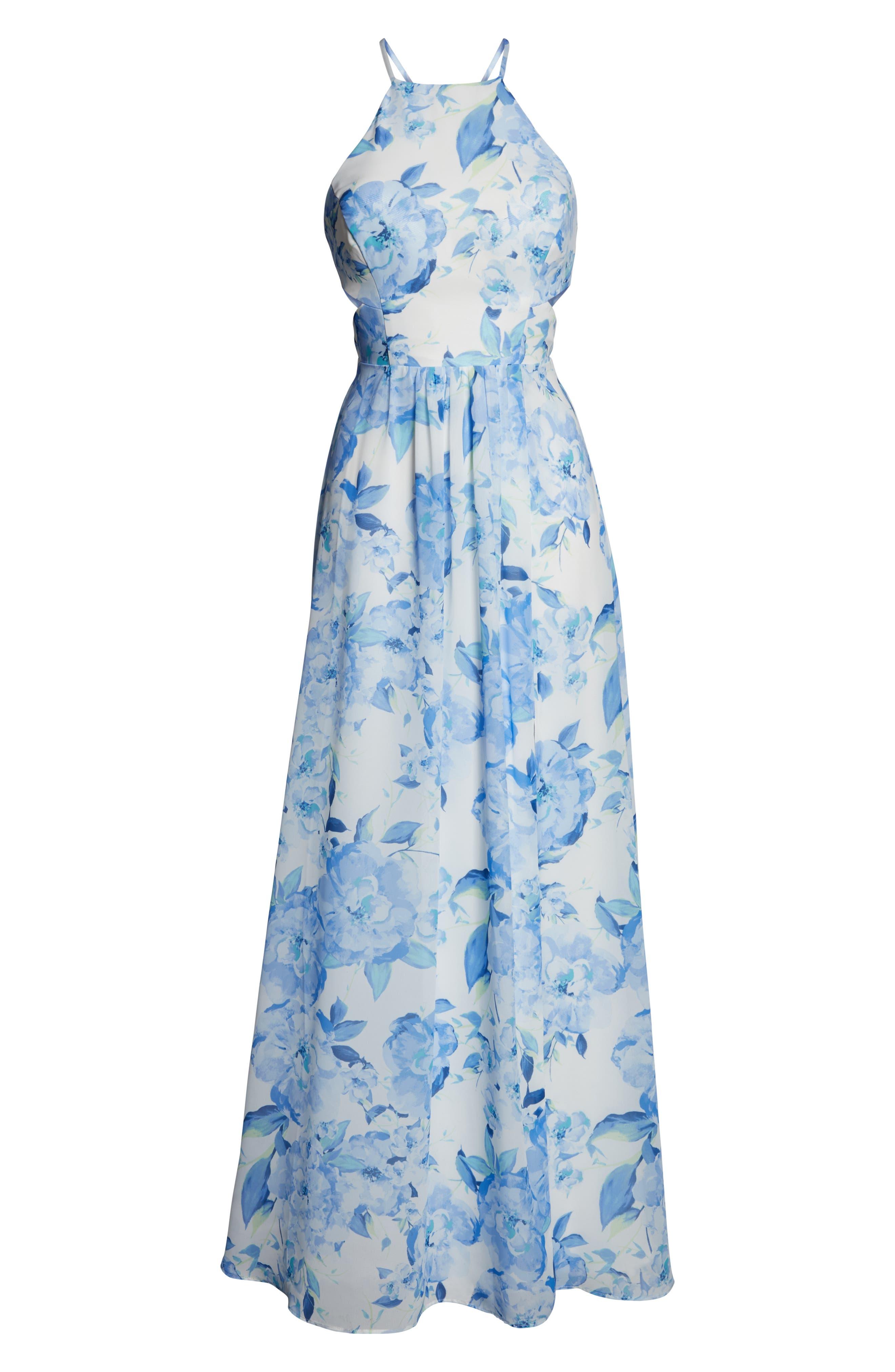 MORGAN & CO.,                             Floral Print Strappy Back Evening Dress,                             Alternate thumbnail 7, color,                             WHITE/ MULTI