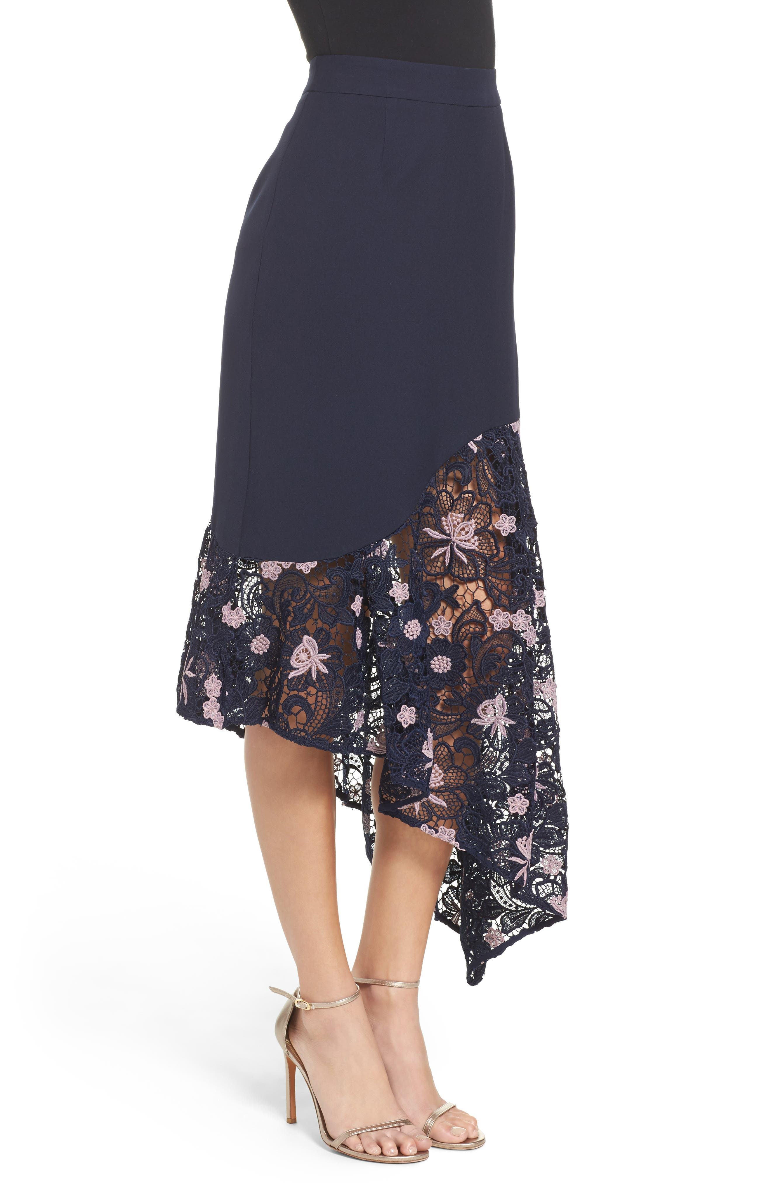 Botanic Bloom Lace Asymmetric Skirt,                             Alternate thumbnail 3, color,                             413
