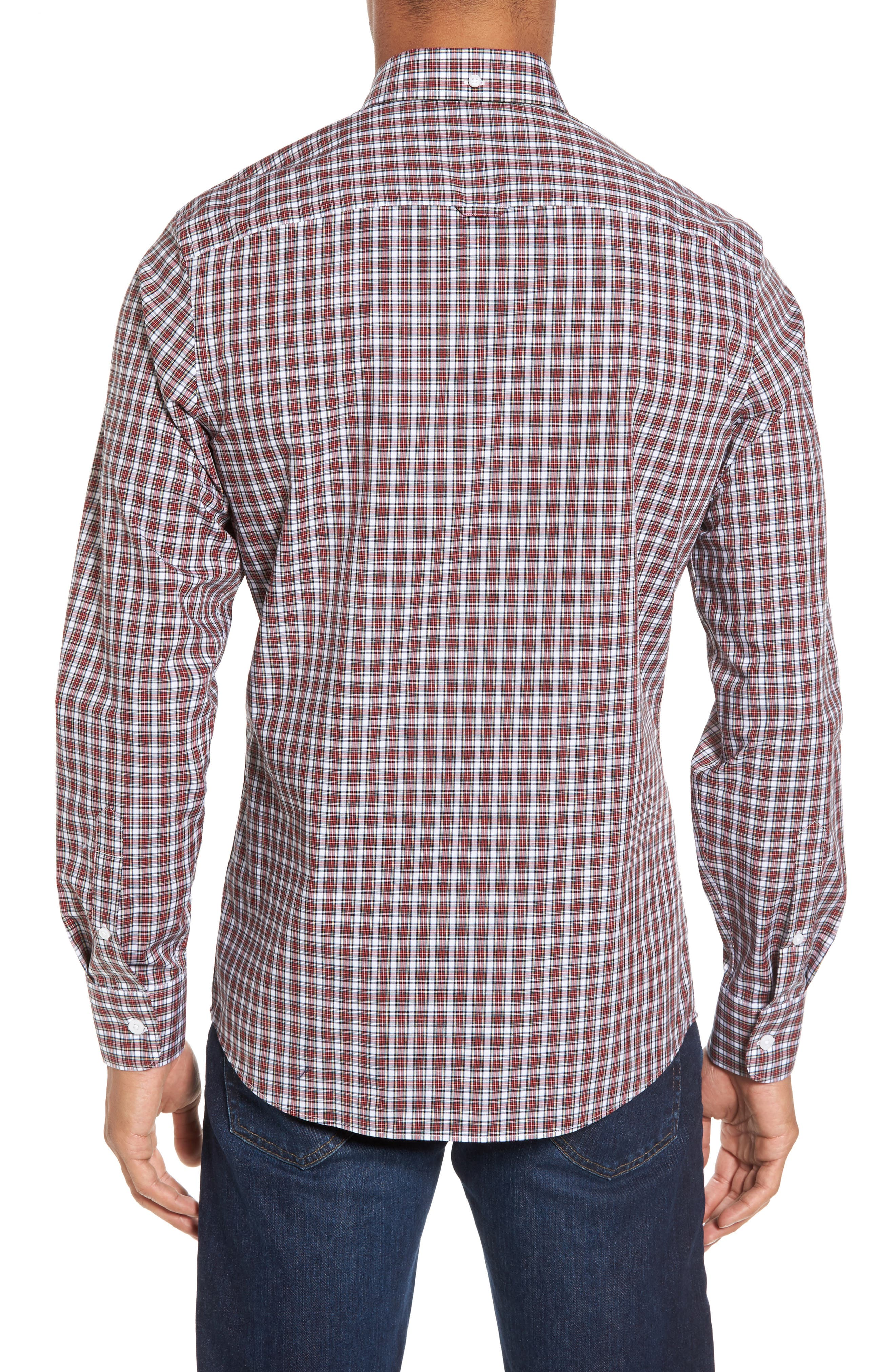 Ivy Trim Fit Non-Iron Tartan Plaid Sport Shirt,                             Alternate thumbnail 2, color,