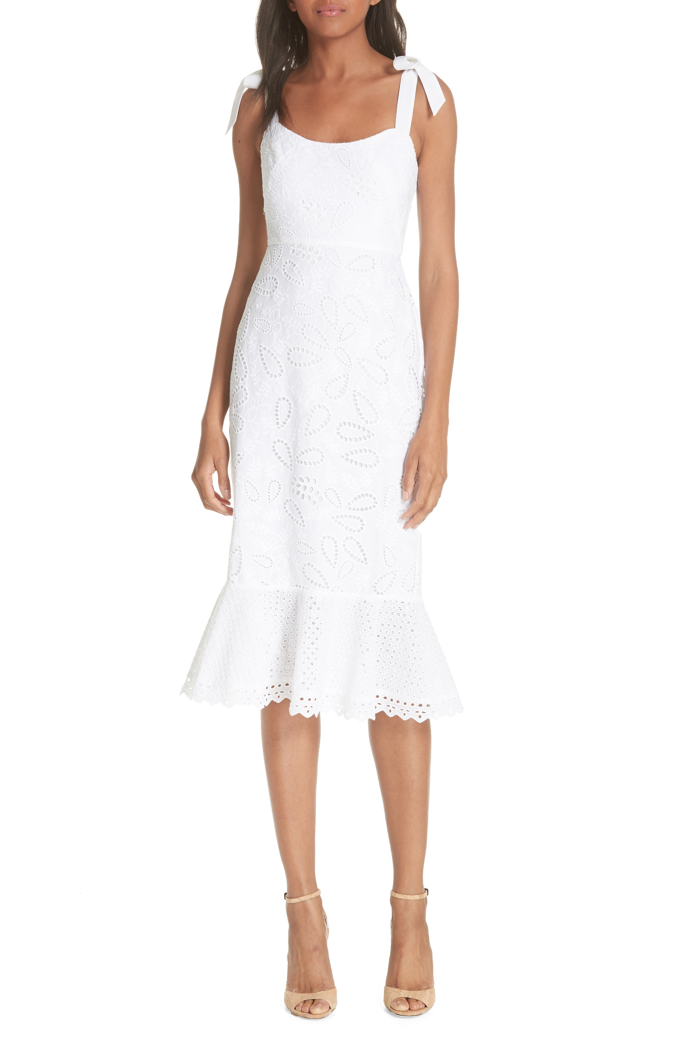 SALONI Rosie Eyelet Dress, Main, color, 101