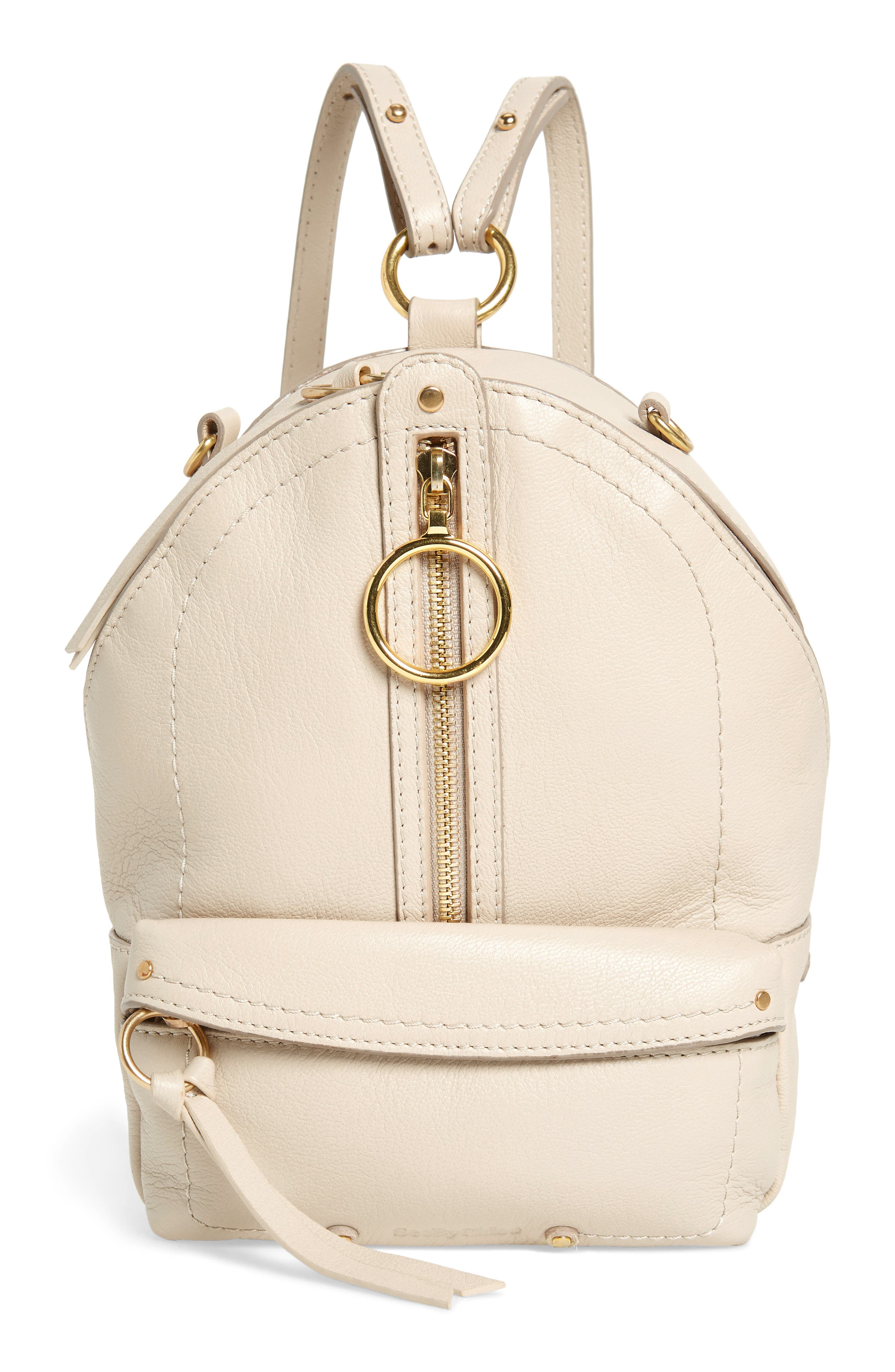 Mini Mino Leather Backpack,                             Main thumbnail 1, color,                             CEMENT BEIGE