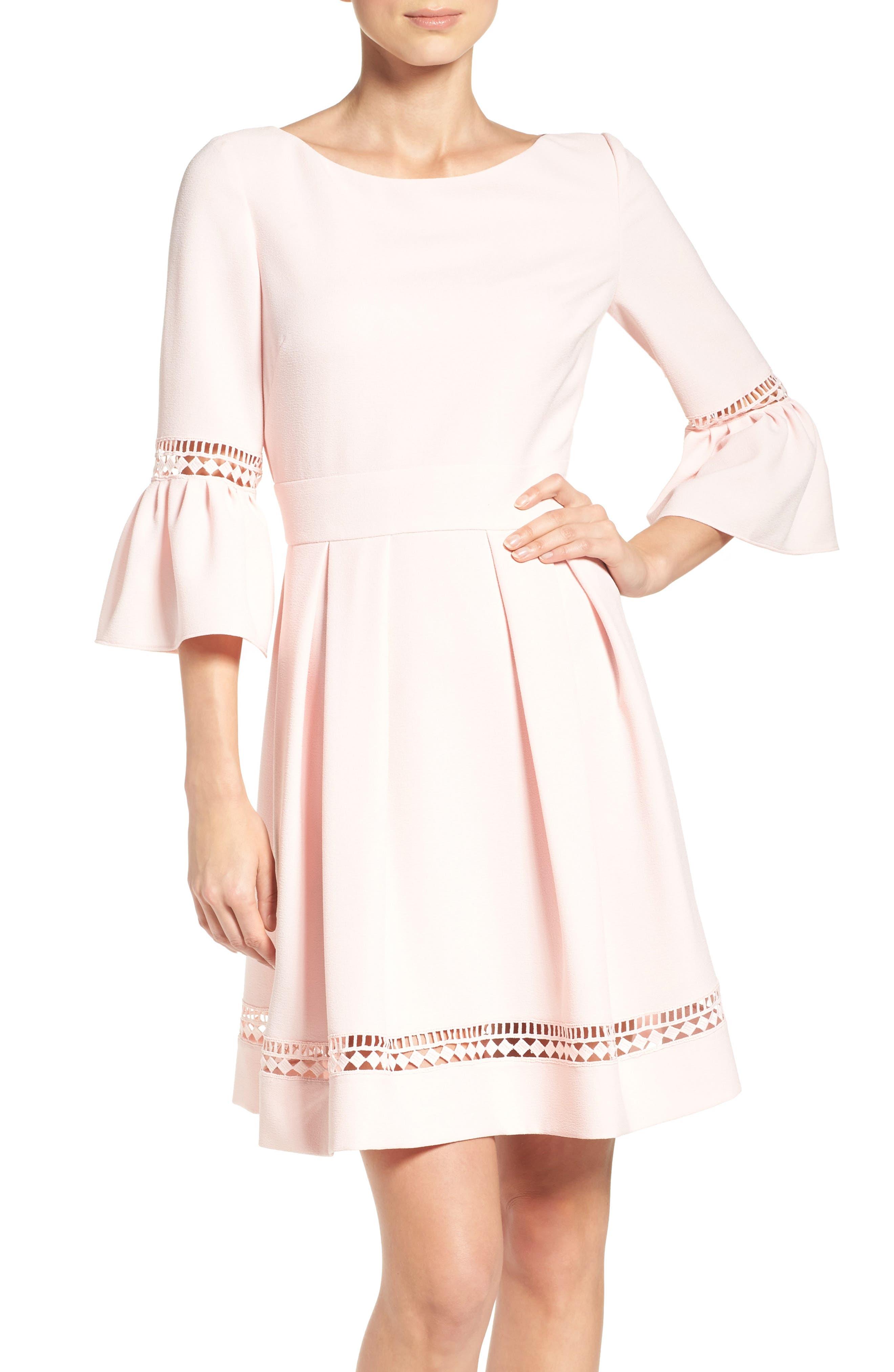 ELIZA J,                             Bell Sleeve Fit & Flare Dress,                             Alternate thumbnail 6, color,                             BLUSH
