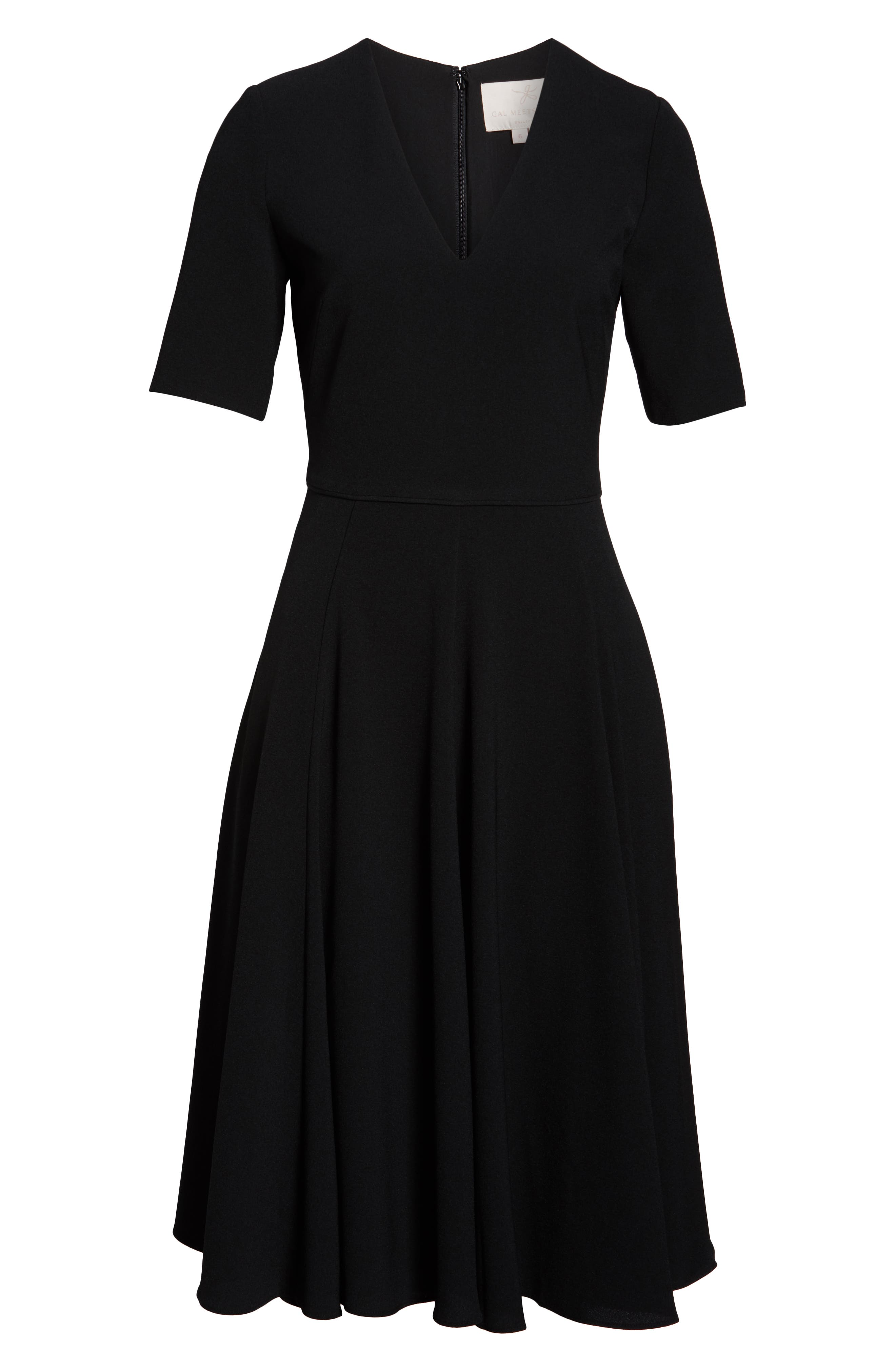 Edith City Crepe Fit & Flare Dress,                             Alternate thumbnail 7, color,                             BLACK