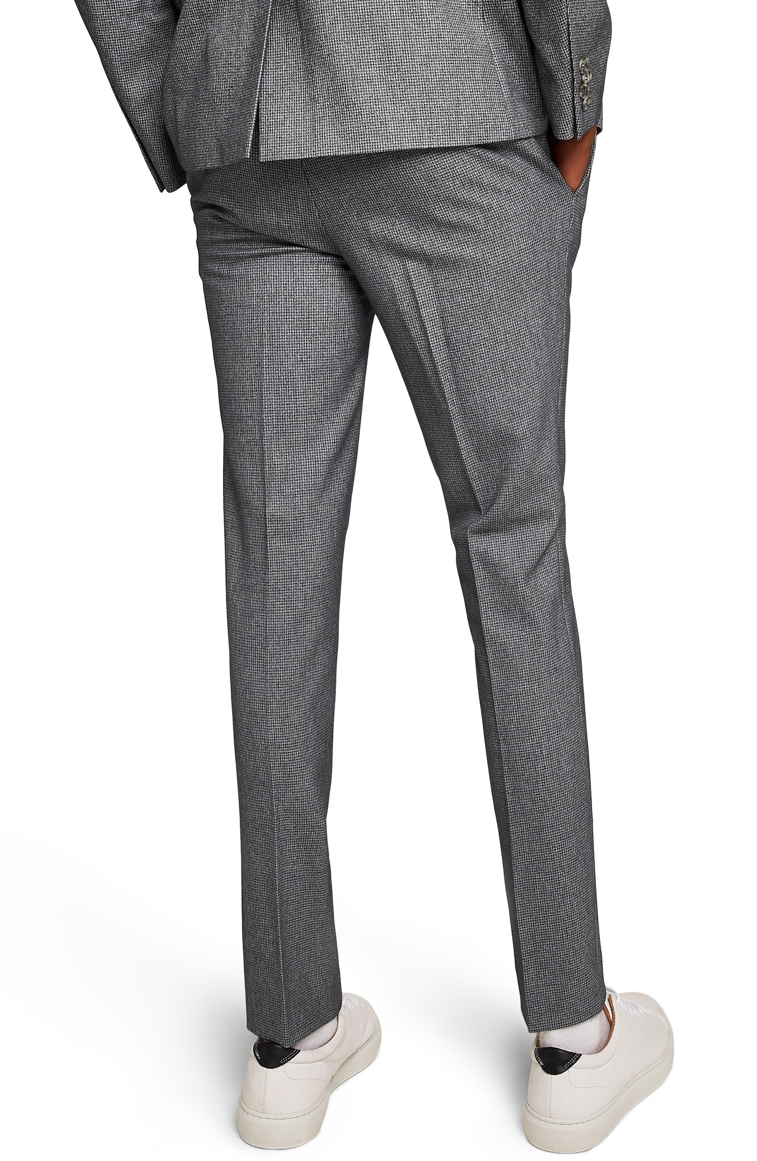 Ultra Skinny Fit Houndstooth Suit Trousers,                             Alternate thumbnail 2, color,                             GREY