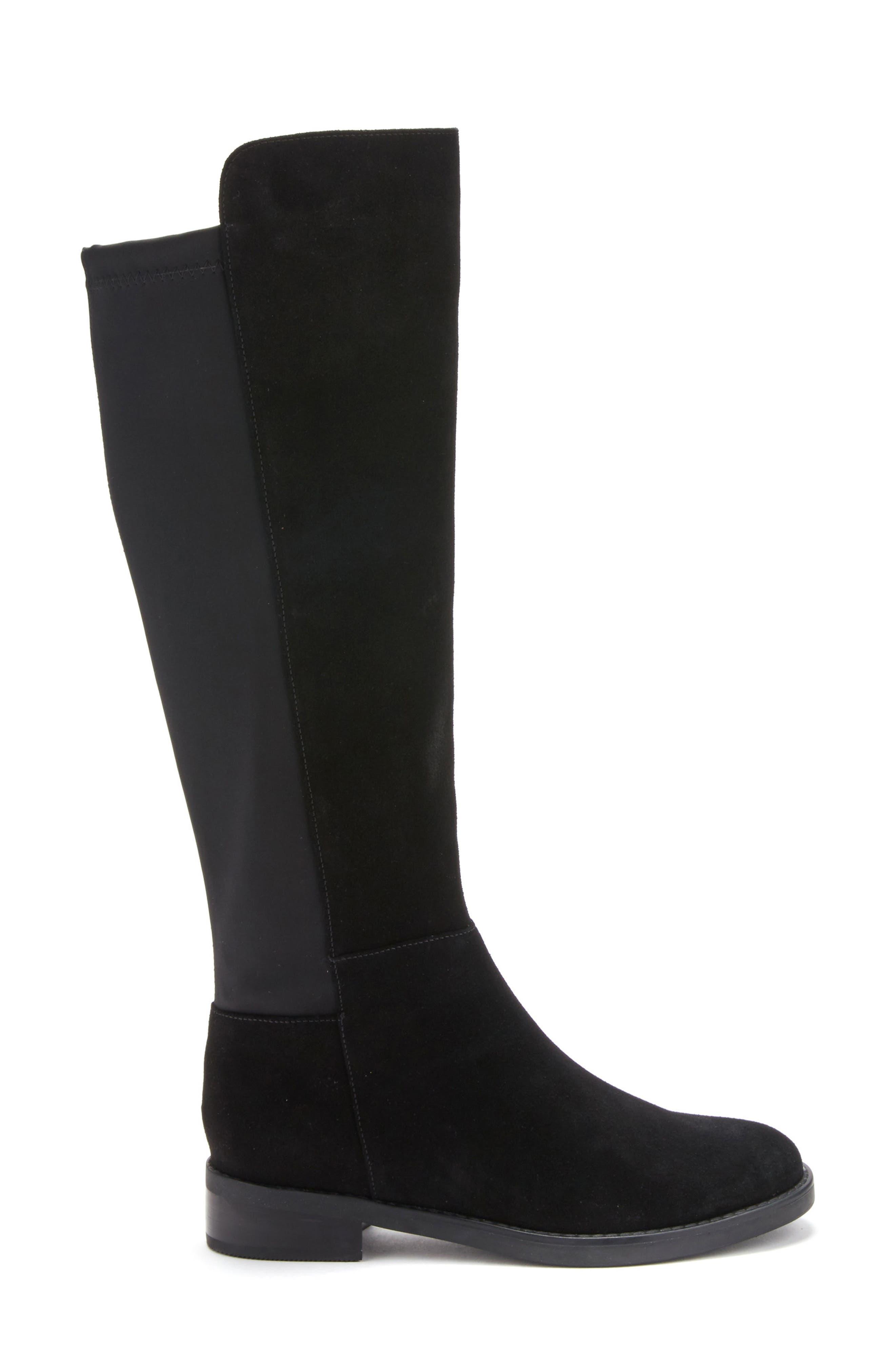 Ellie Waterproof Knee High Riding Boot,                             Alternate thumbnail 3, color,                             BLACK SUEDE