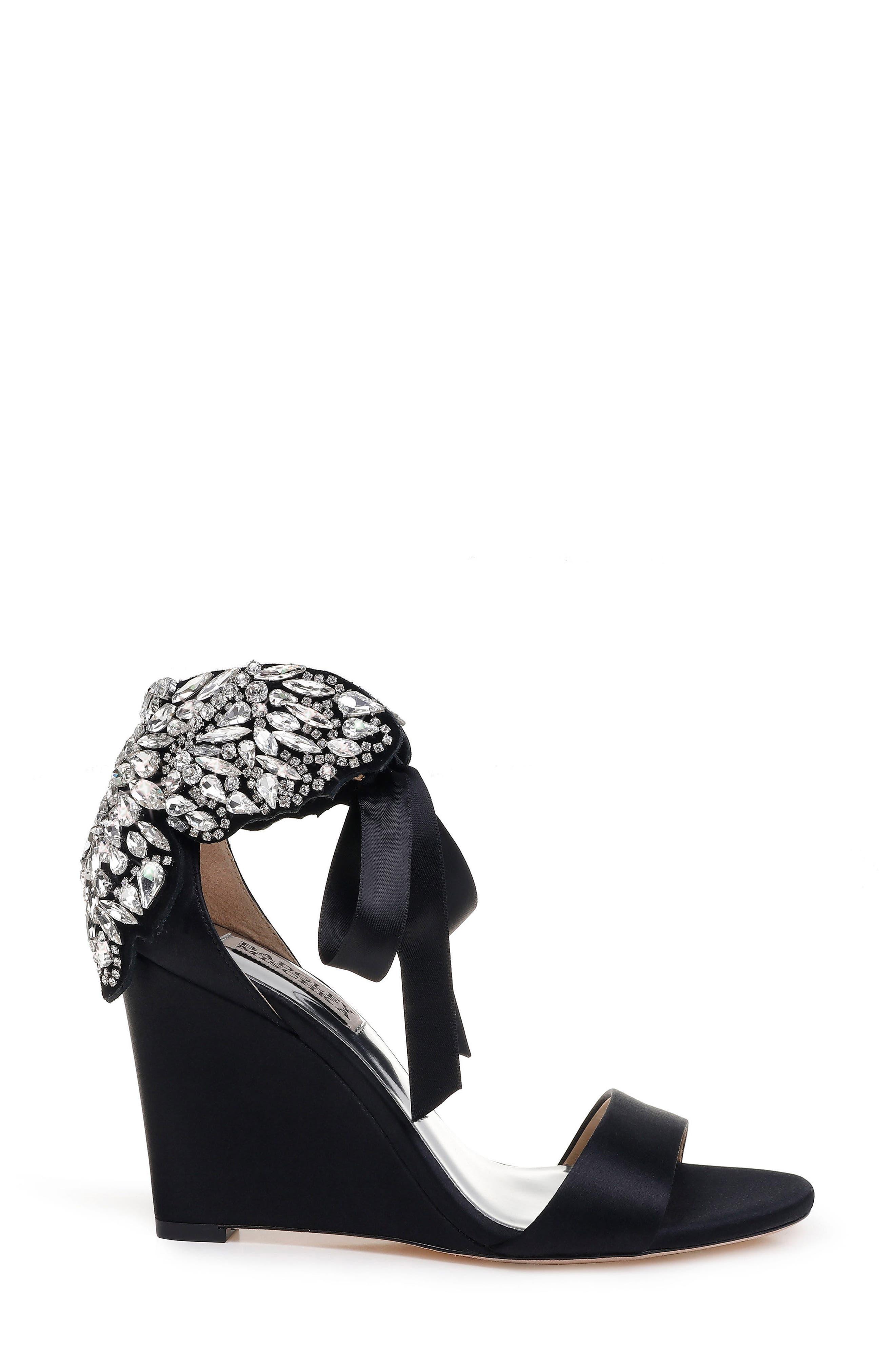 Badgley Mischka Heather Crystal Embellished Wedge,                             Alternate thumbnail 3, color,                             BLACK SATIN