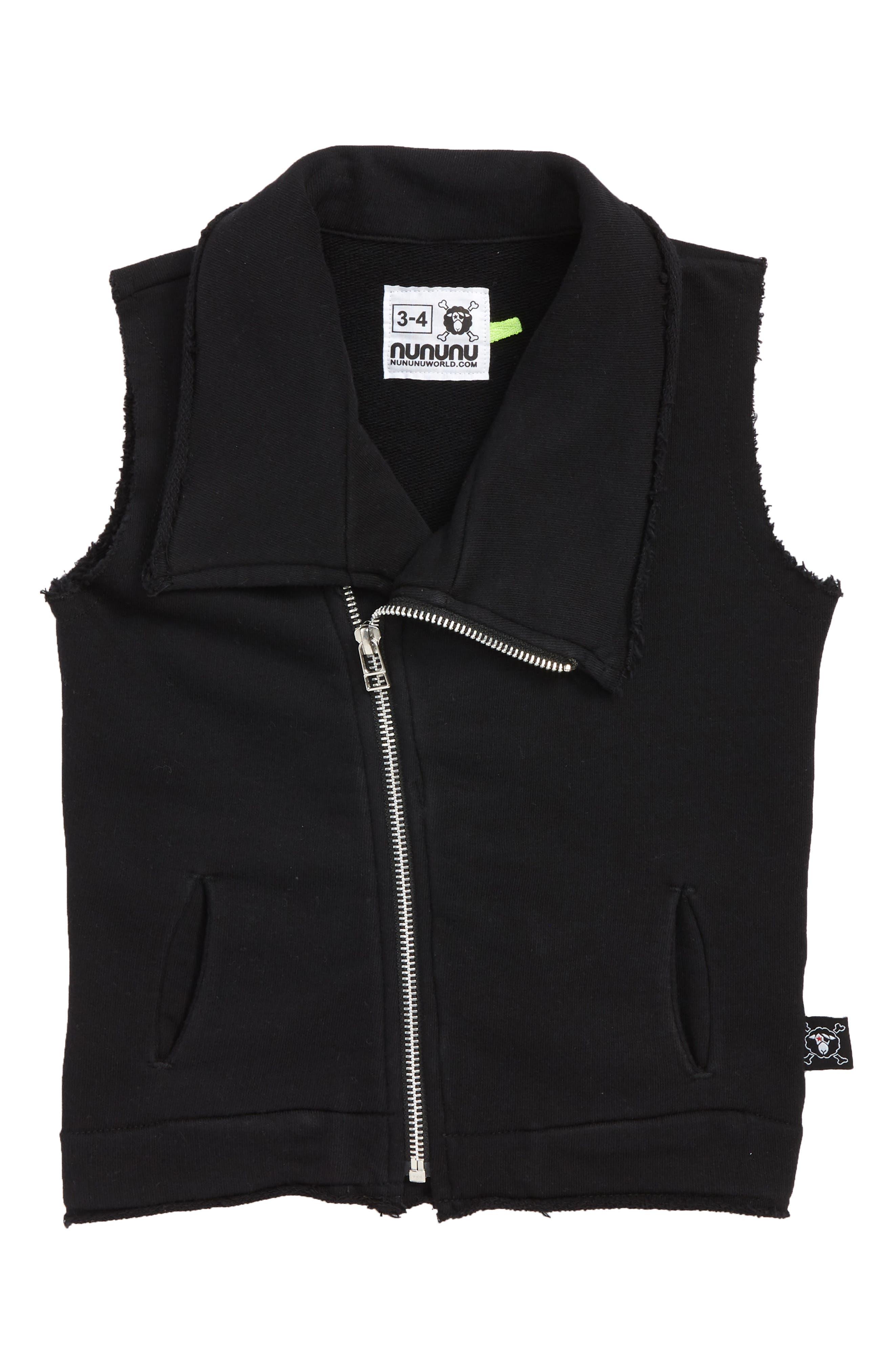 Solid Asymmetrical Zip Vest,                         Main,                         color, BLACK