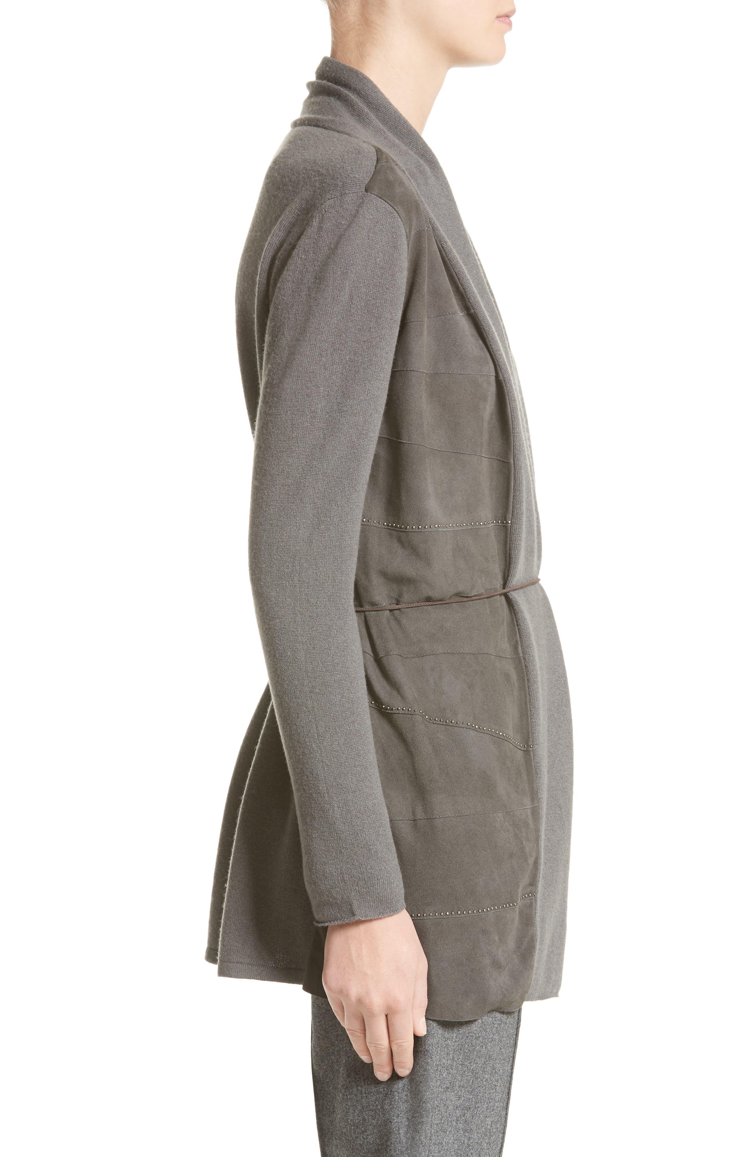 Suede Trim Wool, Silk & Cashmere Cardigan,                             Alternate thumbnail 3, color,                             030