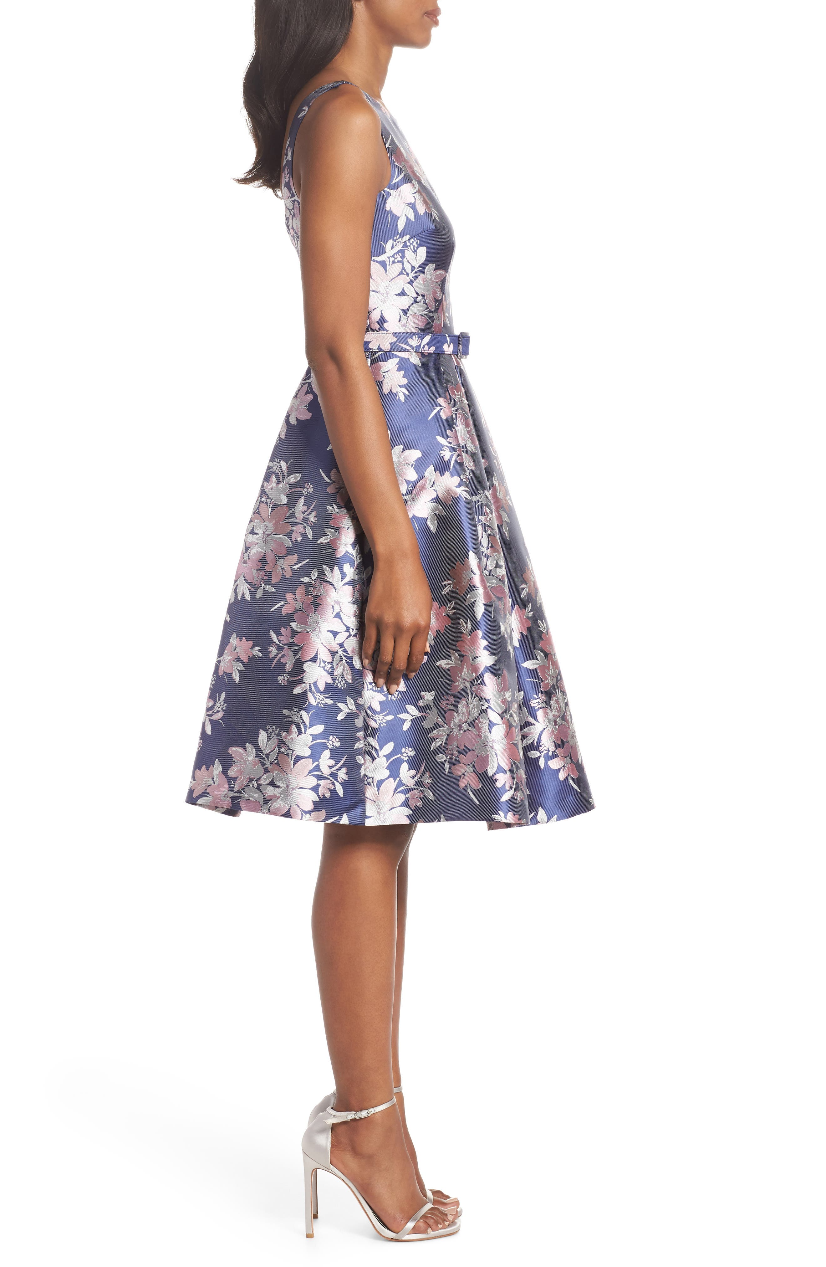 Floral Jacquard Fit & Flare Dress,                             Alternate thumbnail 3, color,                             NAVY
