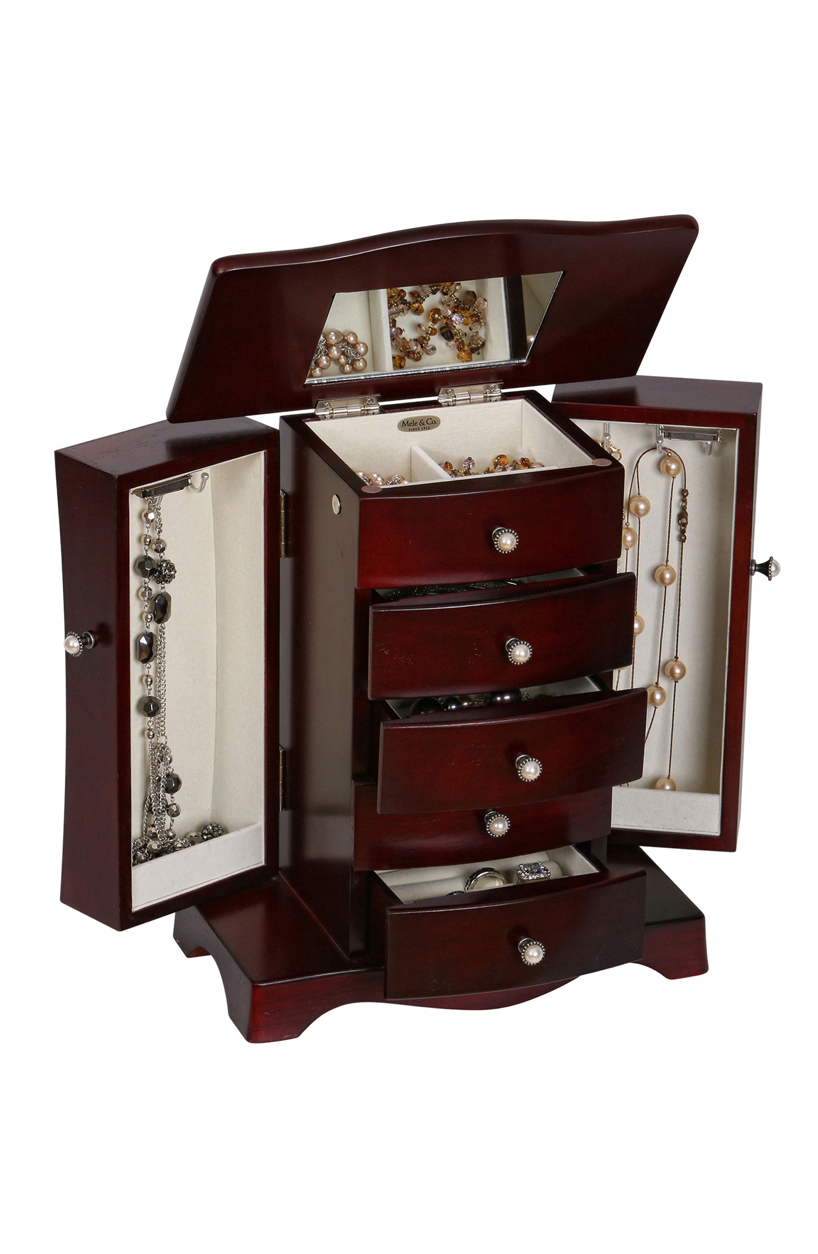 Bette Wooden Jewelry Box,                             Alternate thumbnail 2, color,                             BROWN