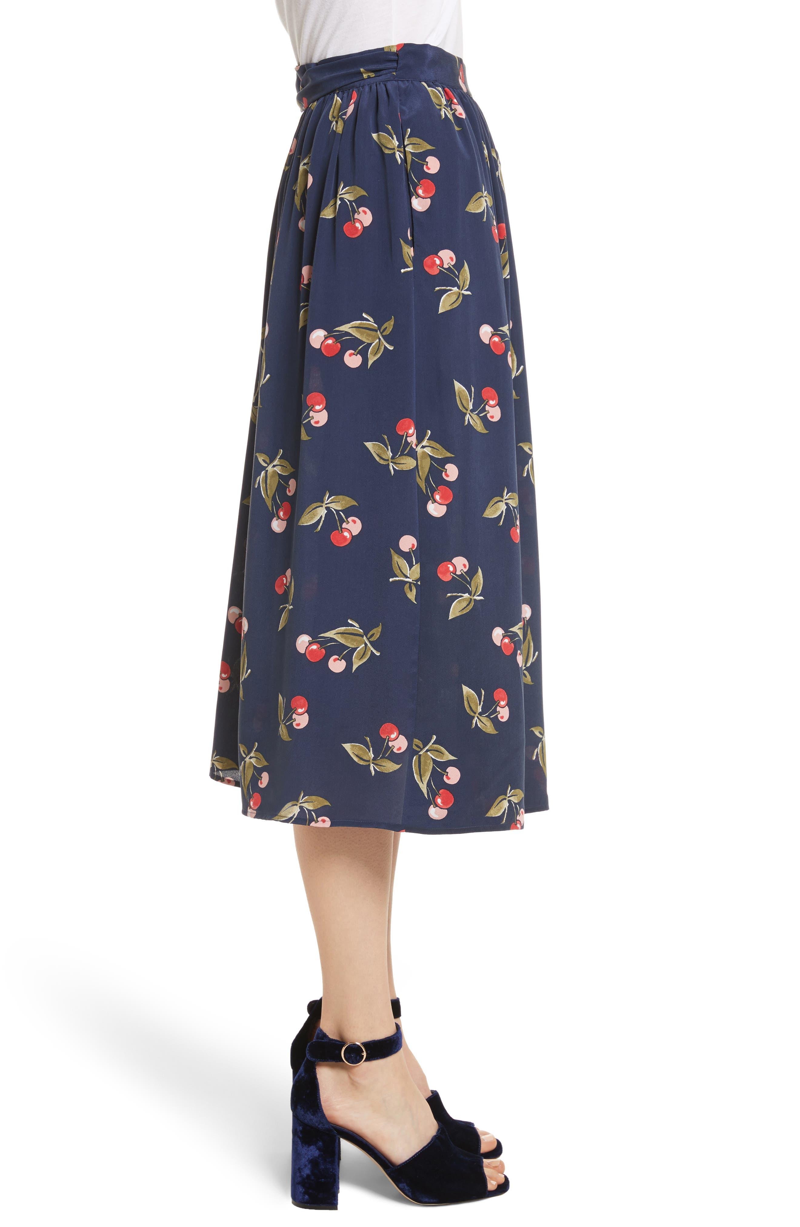 Almudena Cherry Print Silk Wrap Skirt,                             Alternate thumbnail 3, color,                             402