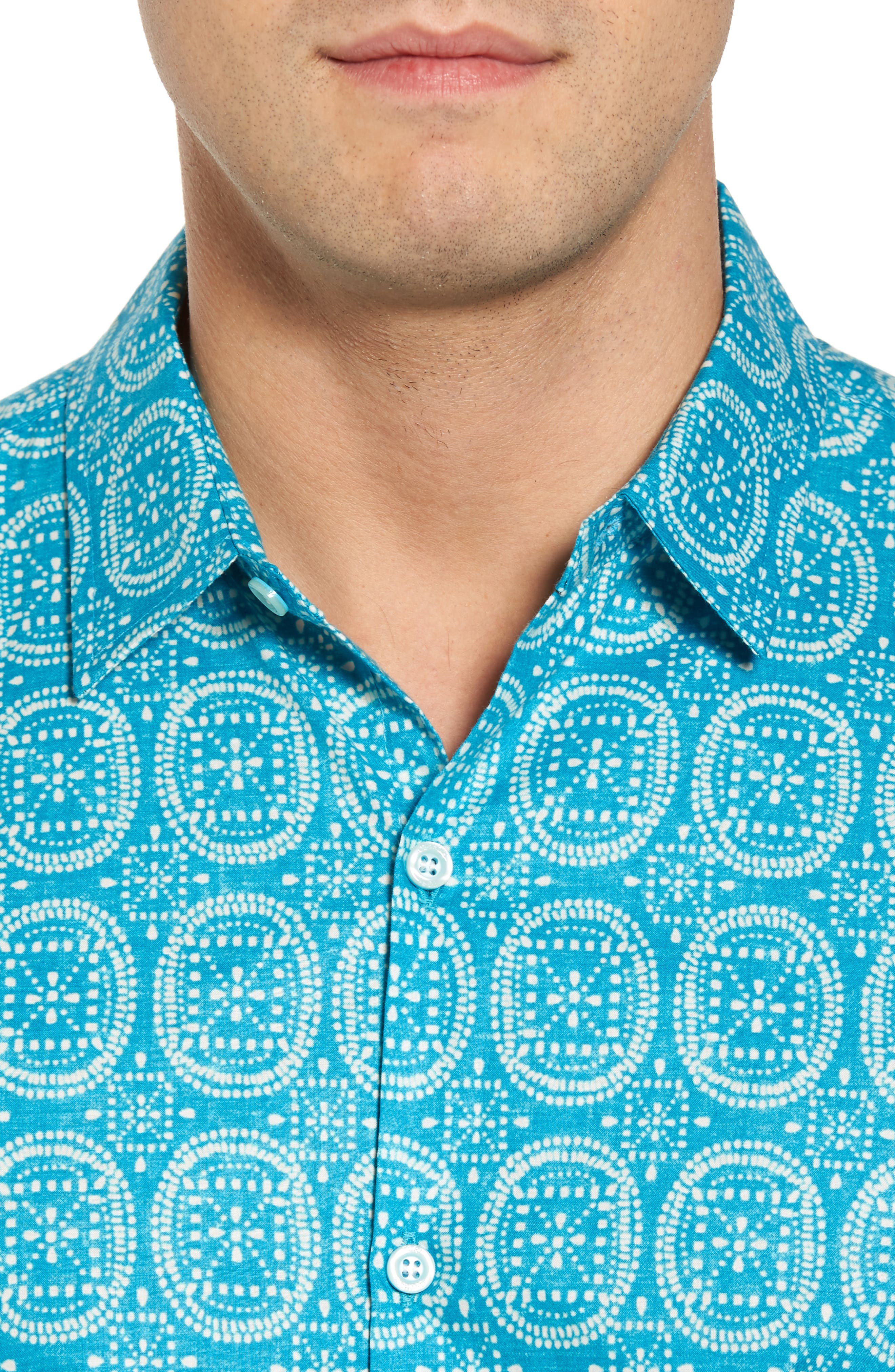 Sea Biscuits Trim Fit Print Sport Shirt,                             Alternate thumbnail 4, color,                             470