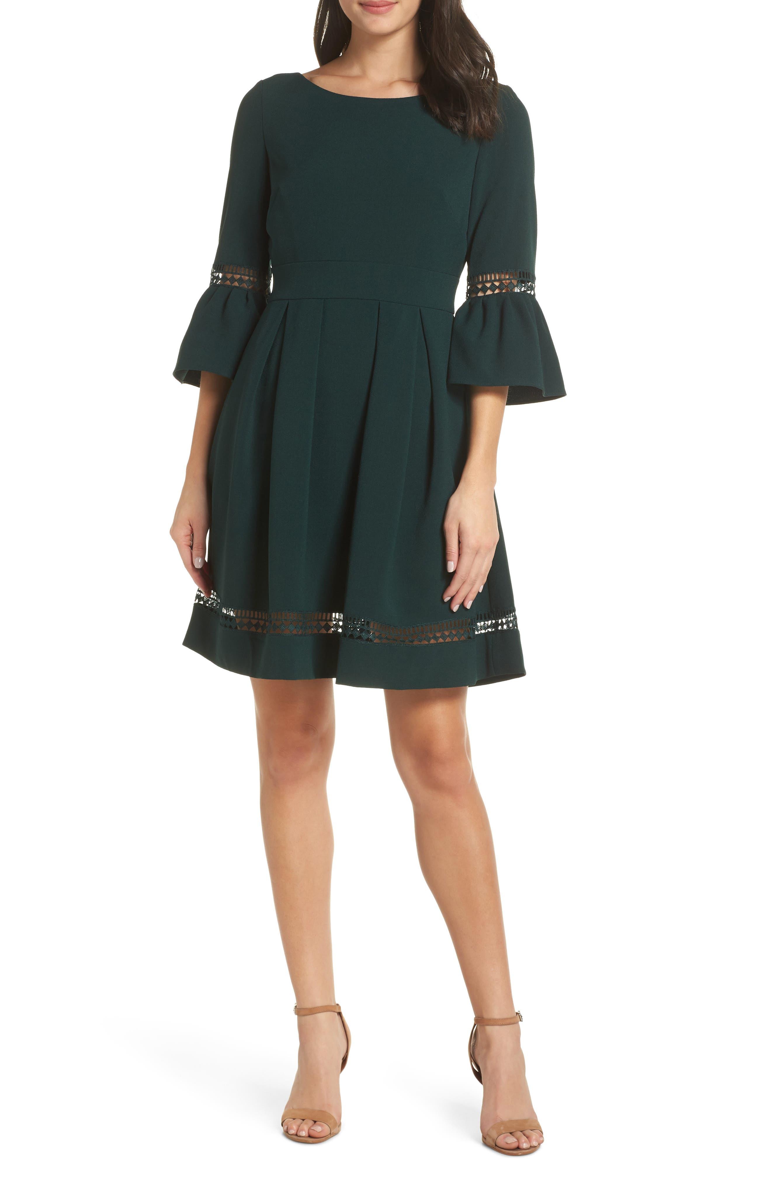 Eliza J Bell Sleeve Fit & Flare Dress, Green