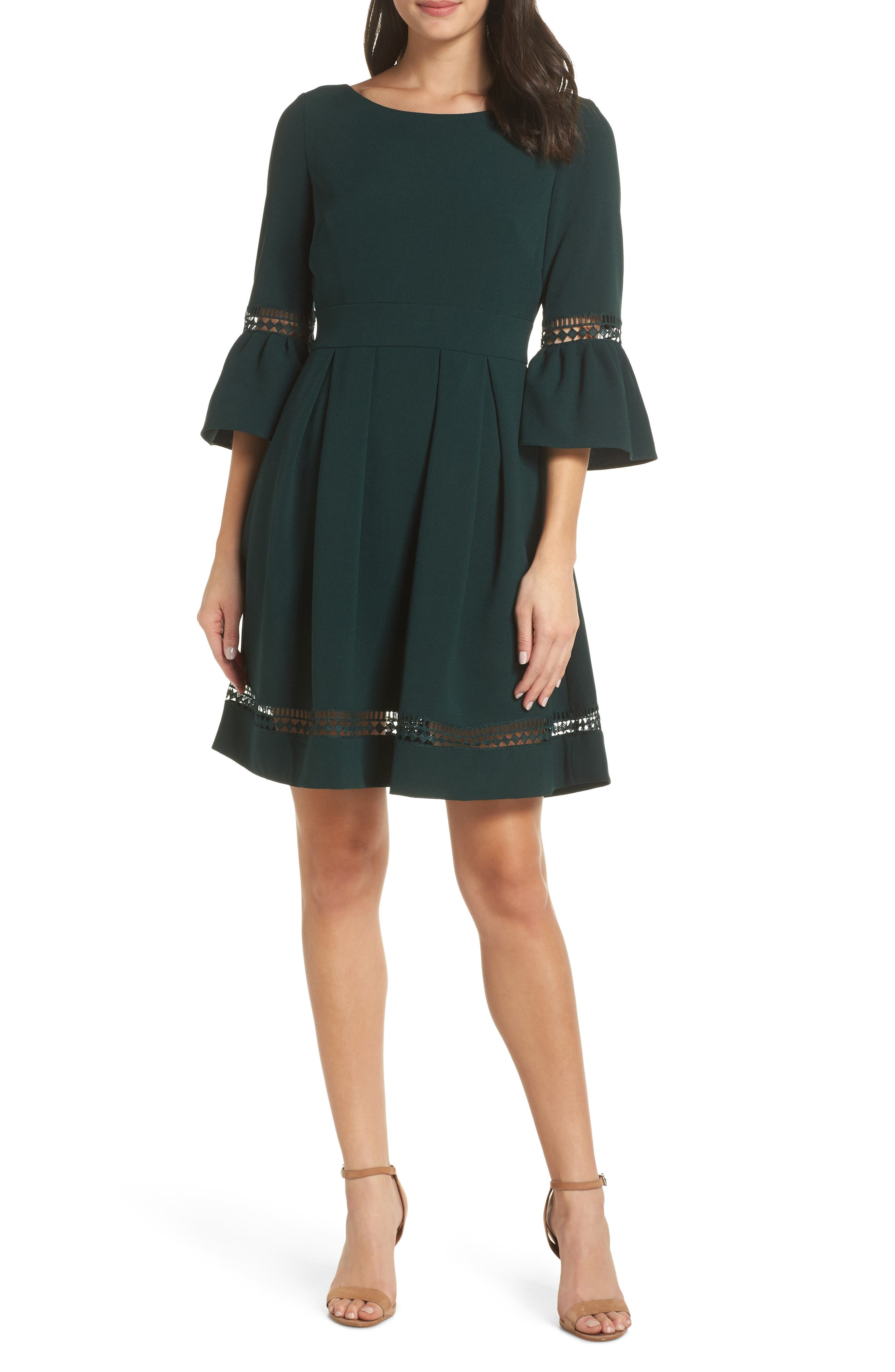 ELIZA J Bell Sleeve Fit & Flare Dress, Main, color, PINE