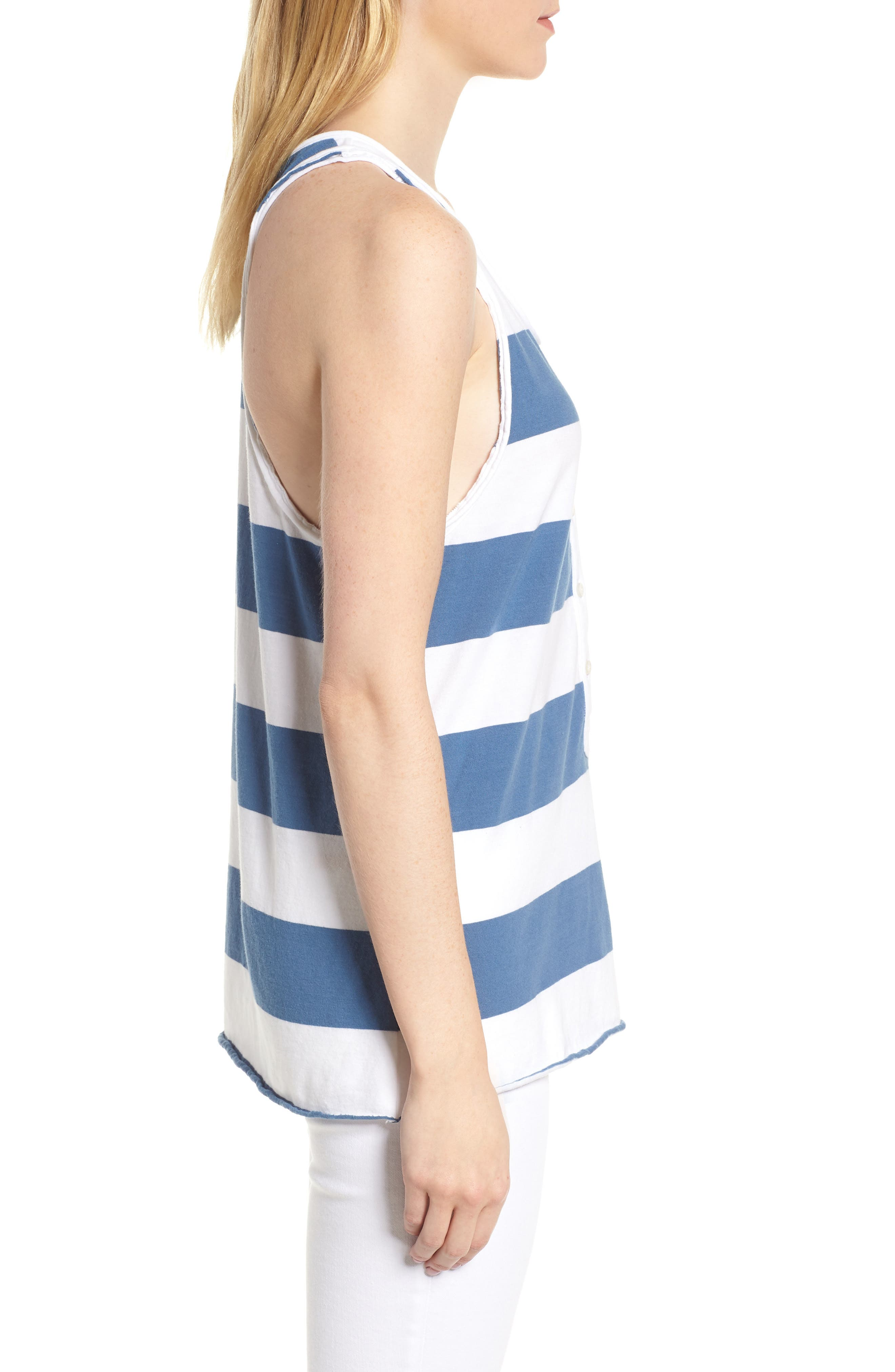 Rugby Stripe Tank,                             Alternate thumbnail 3, color,                             WHITE/ BLUE