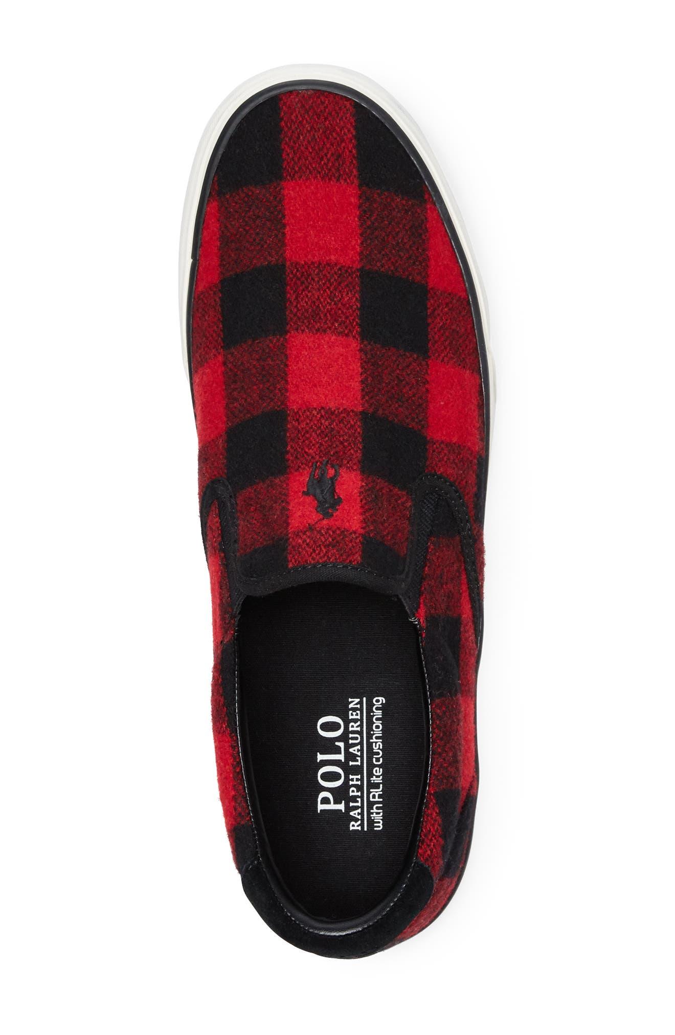Thompson Wool Slip-On Sneaker,                             Alternate thumbnail 3, color,                             BLACK / RED