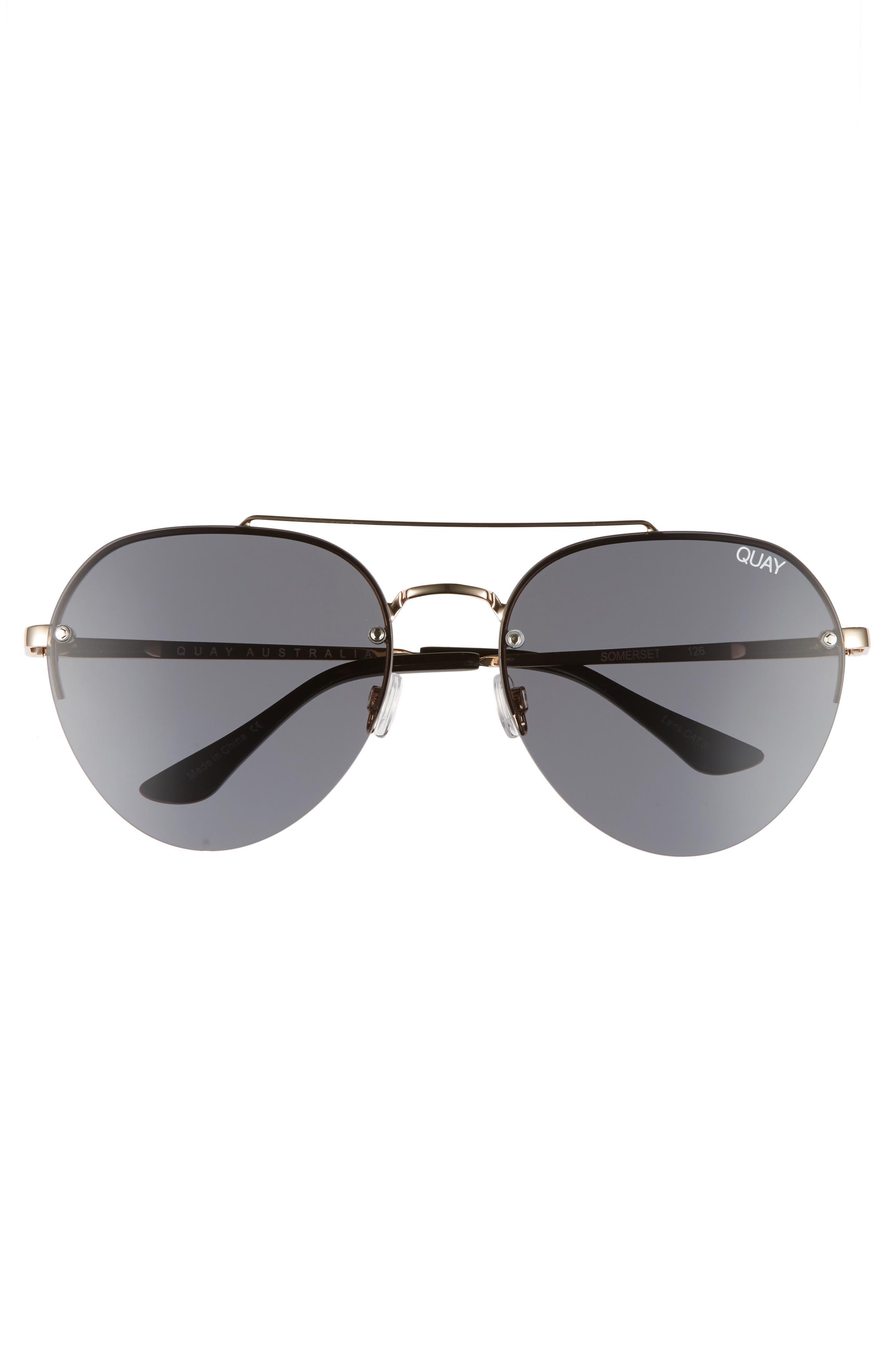 Somerset 65mm Aviator Sunglasses,                             Alternate thumbnail 3, color,                             GOLD/ SMOKE