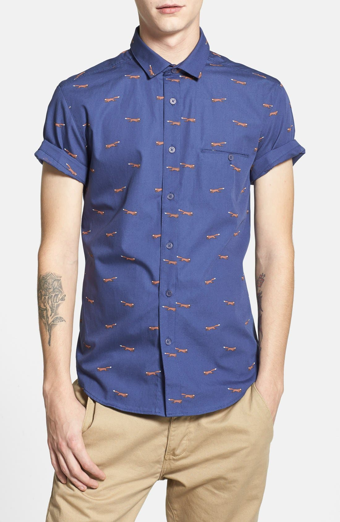Short Sleeve All Over Fox Print Shirt,                             Main thumbnail 1, color,                             401