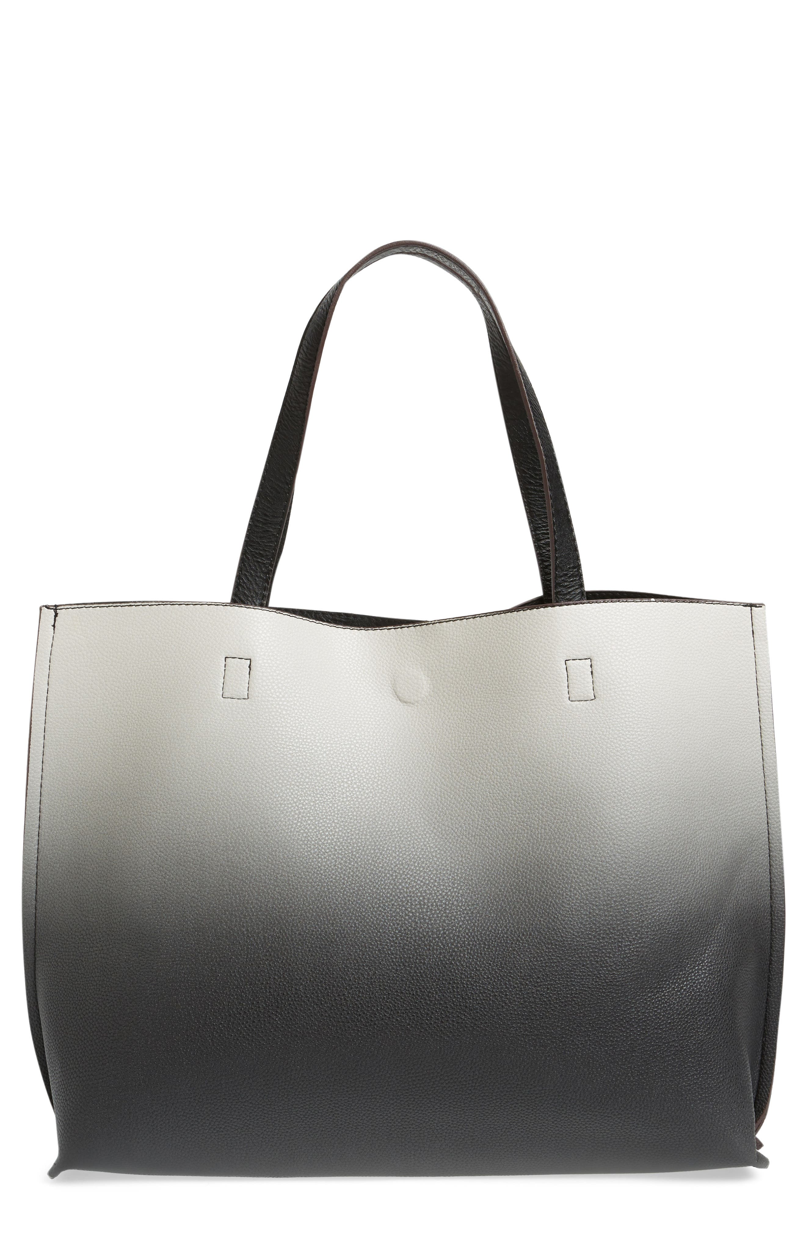 Reversible Faux Leather Tote,                         Main,                         color, 002