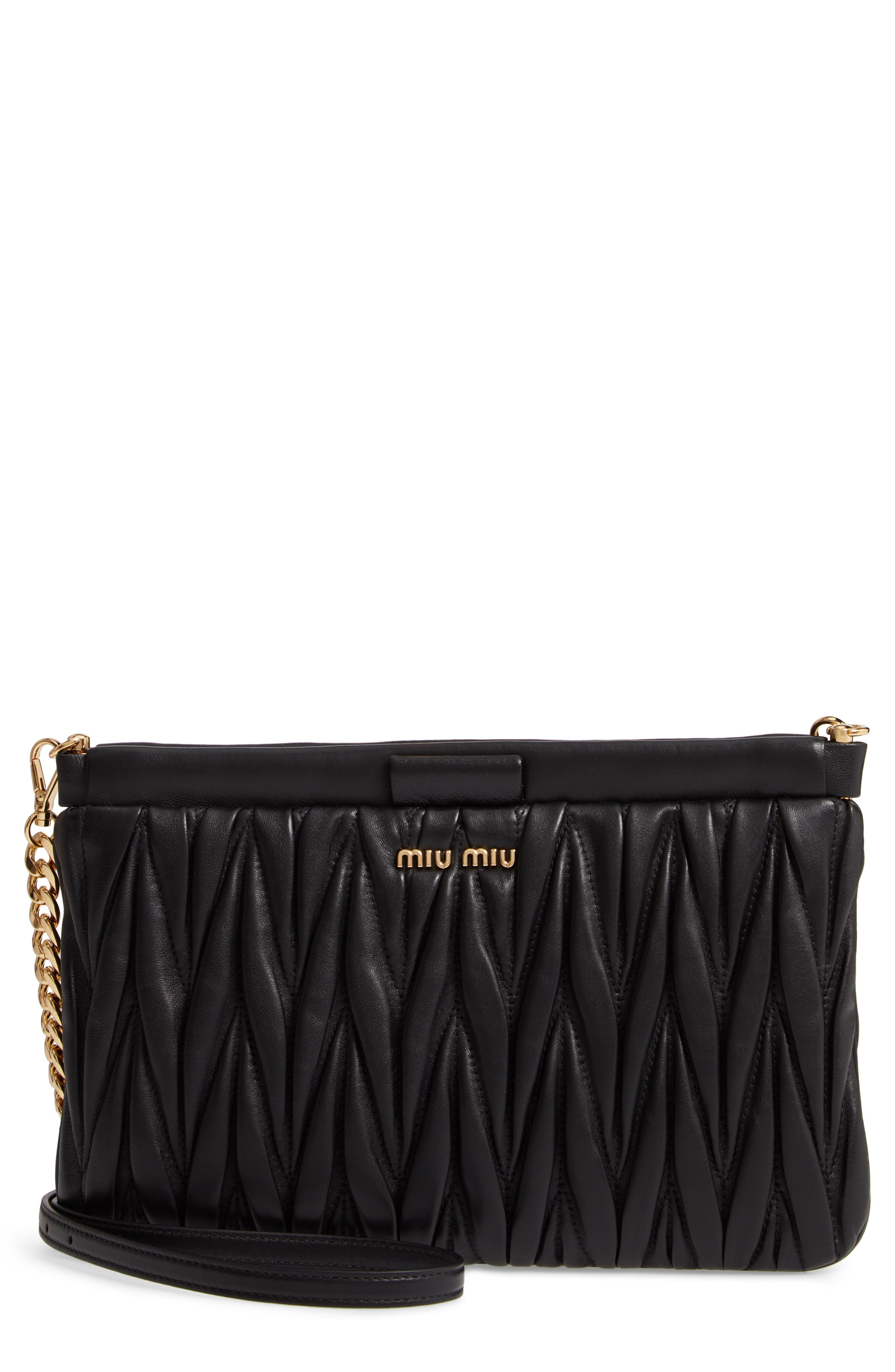 Matelassé Lambskin Leather Clutch,                         Main,                         color, NERO