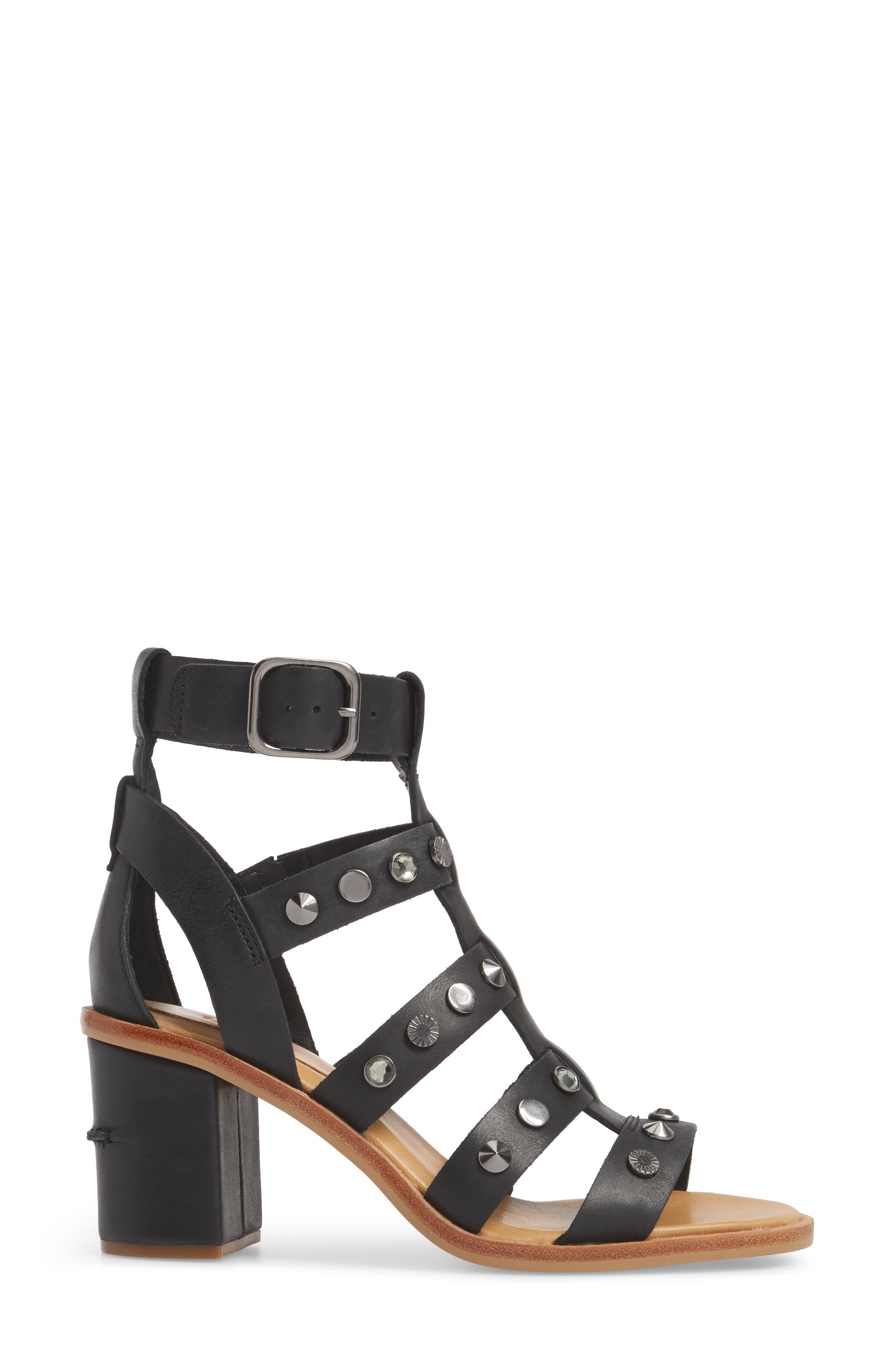 Macayla Studded Sandal,                             Alternate thumbnail 3, color,                             BLACK LEATHER