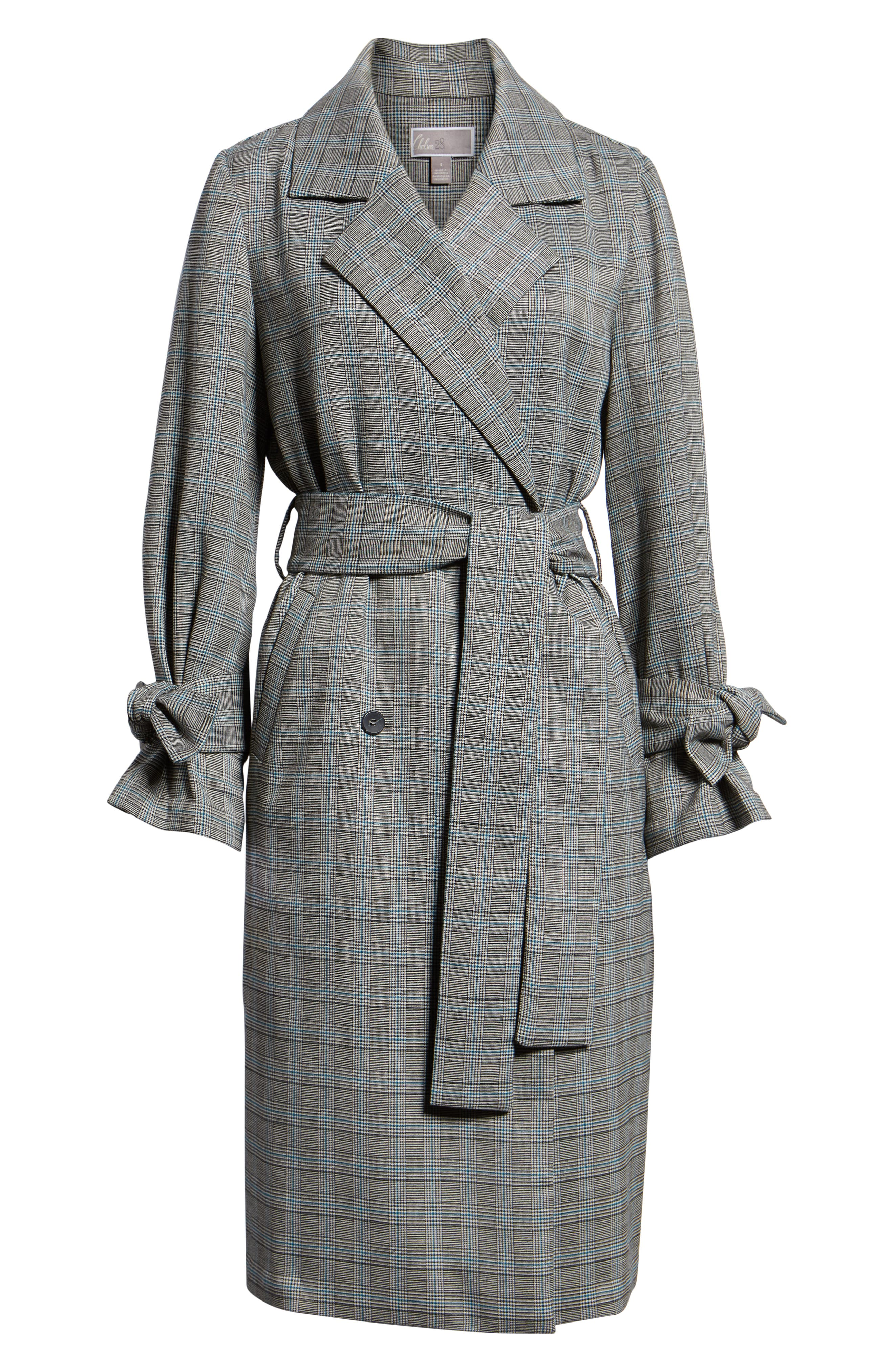 Belted Trench Coat,                             Alternate thumbnail 6, color,                             TEAL CASEY PLAID