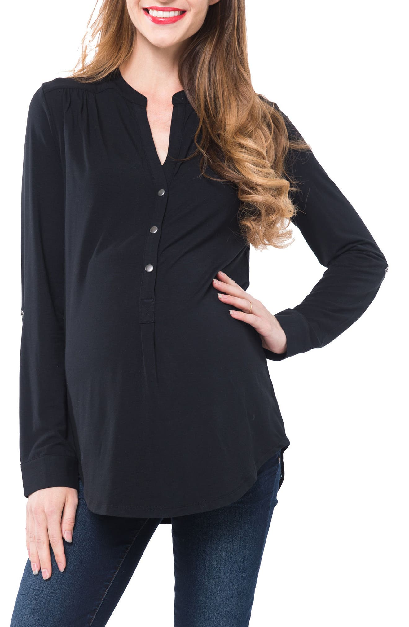 Amelie Snap Front Maternity/Nursing Top,                             Main thumbnail 1, color,                             BLACK