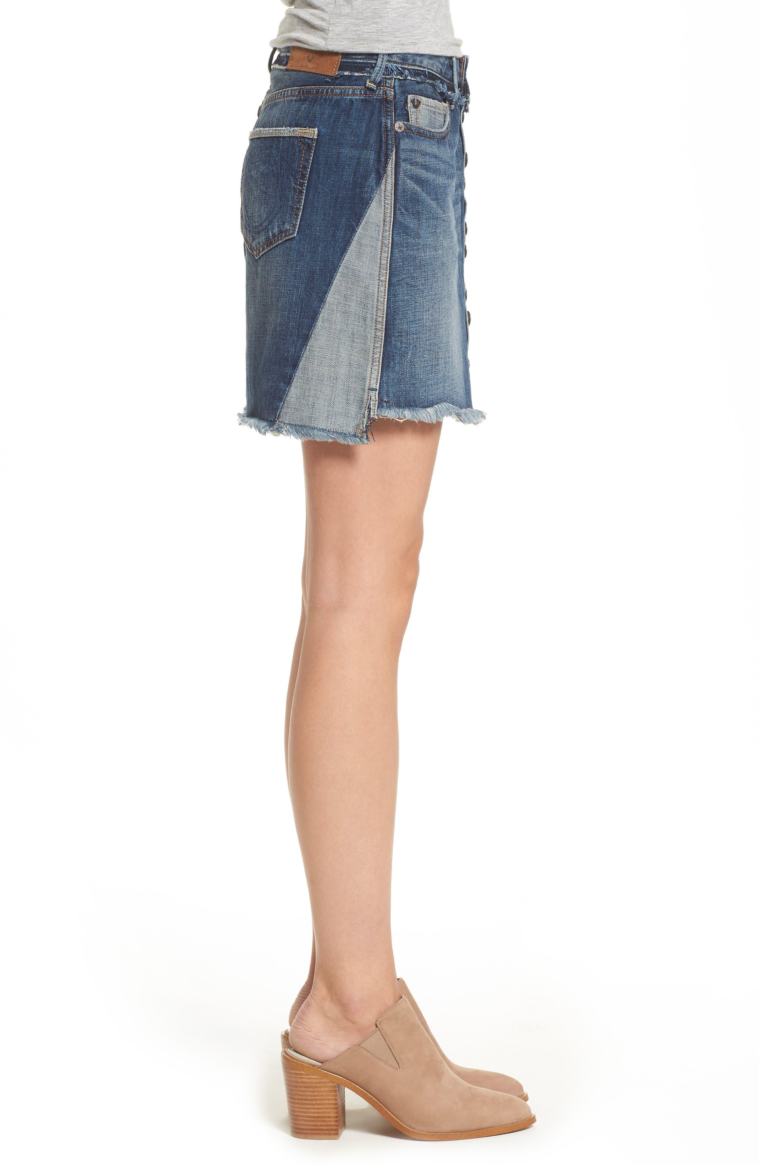 Deconstructed Denim Skirt,                             Alternate thumbnail 3, color,                             401