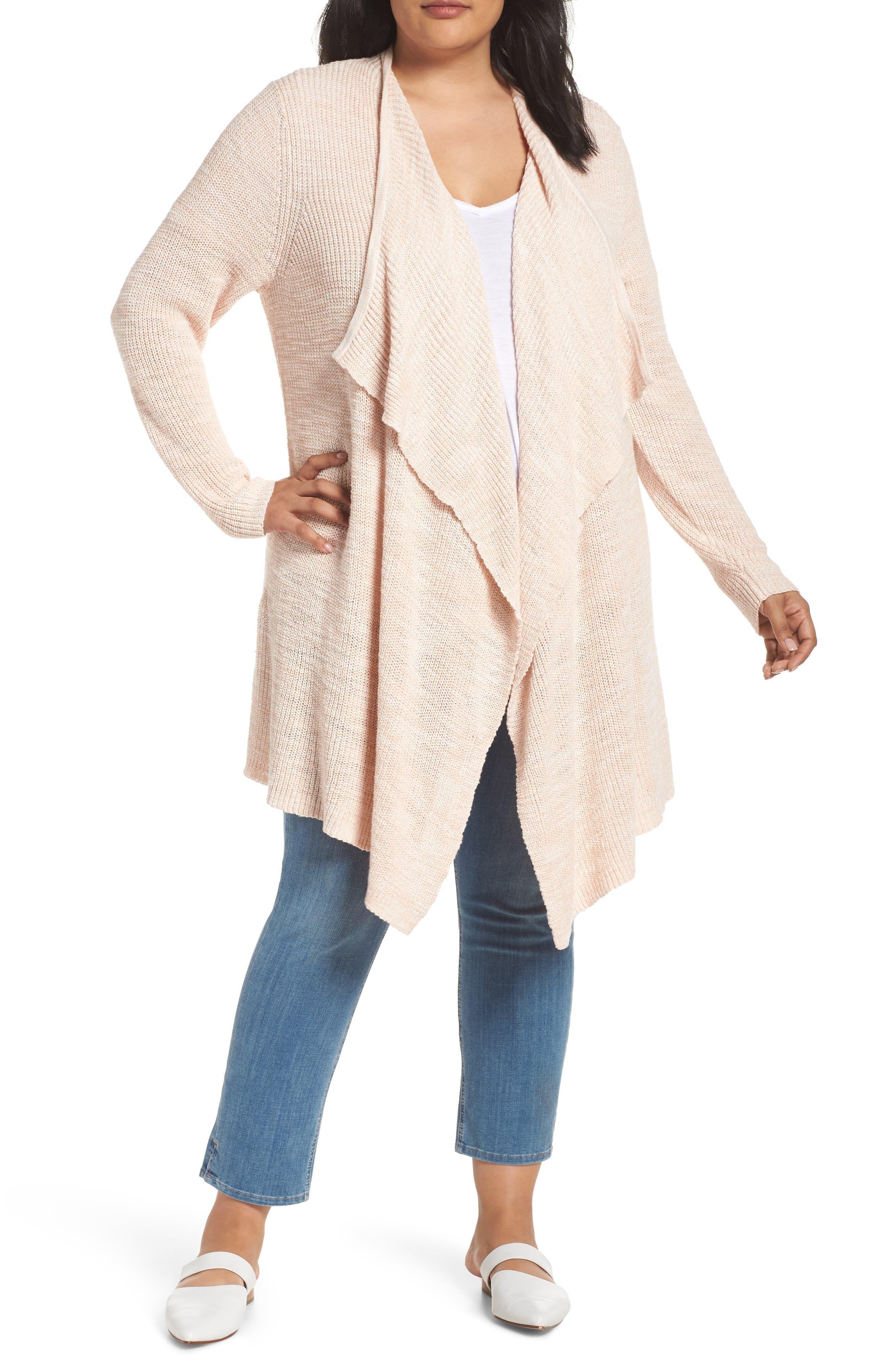 Plus Size Caslon Drape Front Long Cardigan, Beige