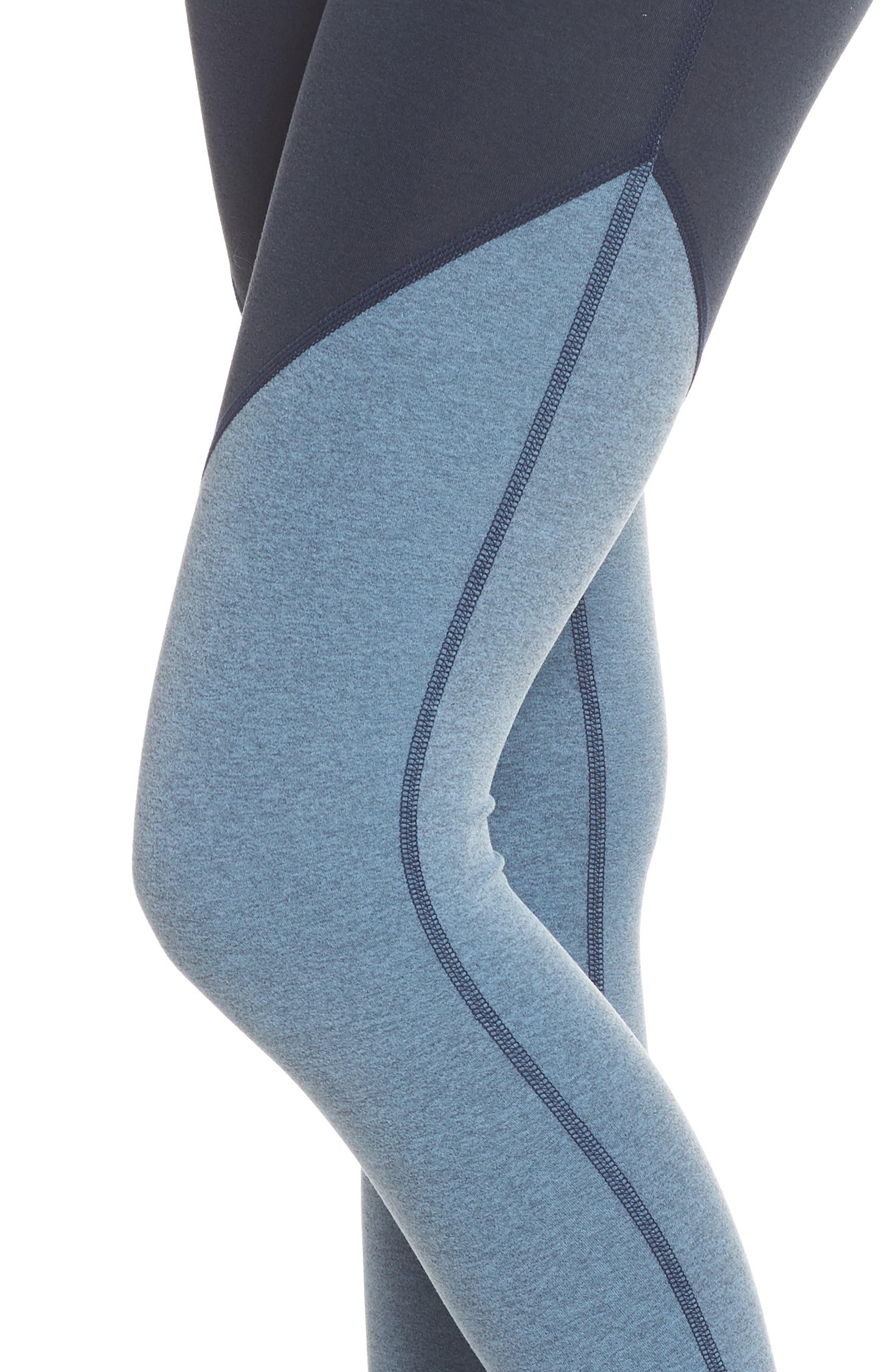 Angled High Waist Leggings,                             Alternate thumbnail 4, color,                             NOCTURNAL NAVY/ LIGHT BLUE