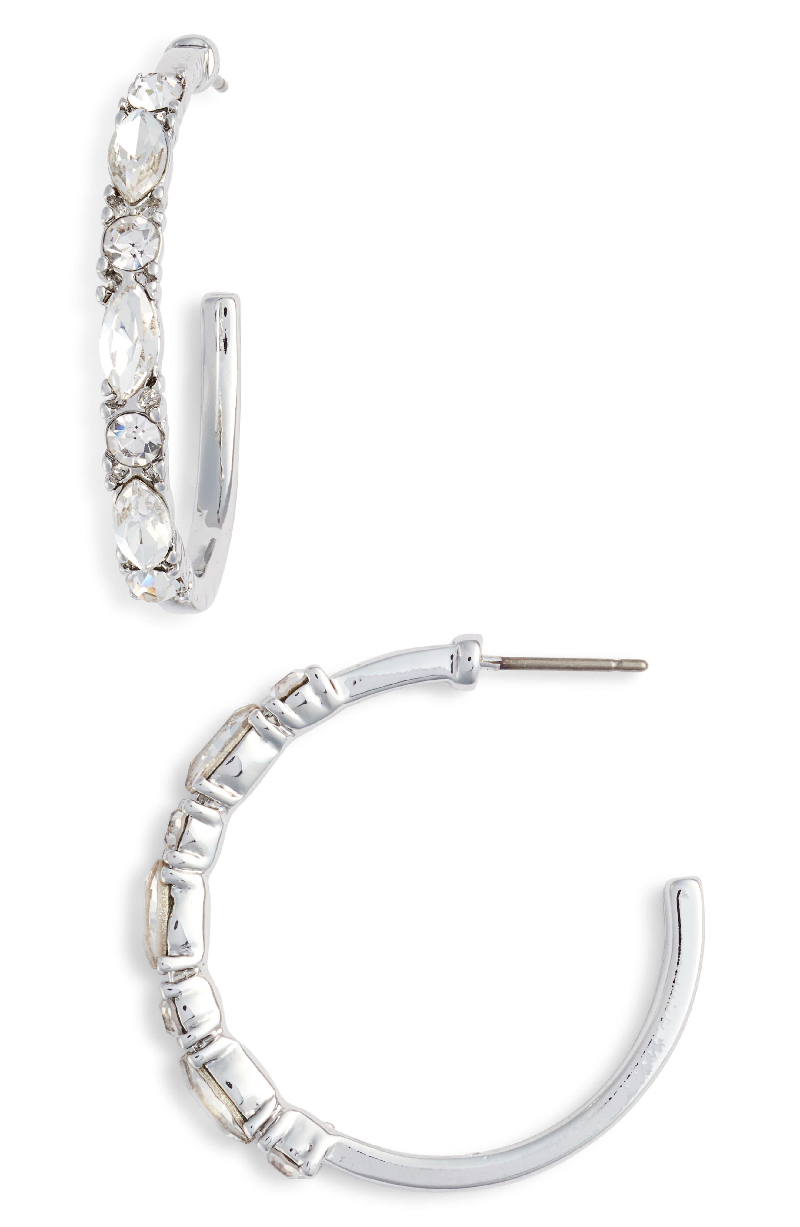 Crystal Hoop Earrings,                             Main thumbnail 1, color,                             SILVER