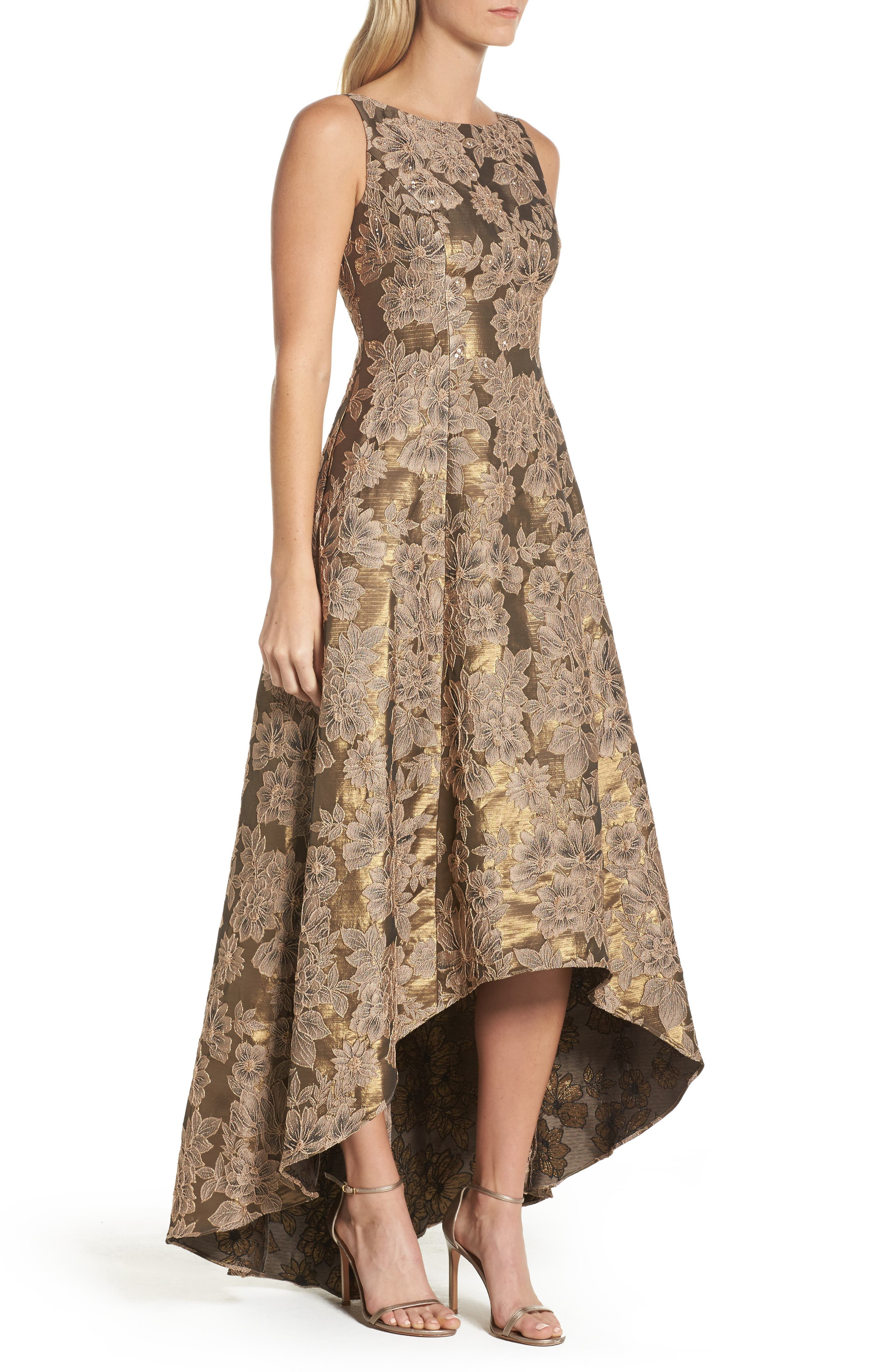 Embellished Taffetta High/Low Gown,                             Alternate thumbnail 3, color,