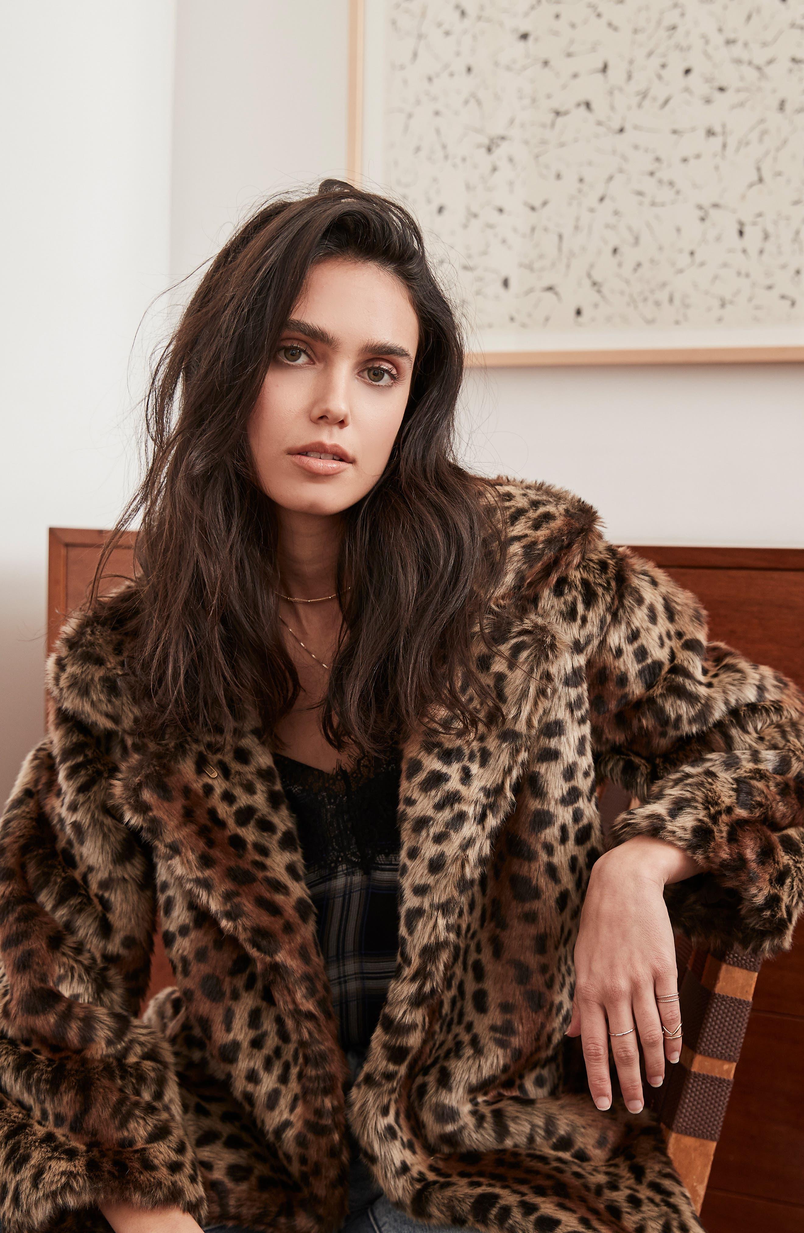 Mika Leopard Faux Fur Jacket,                             Alternate thumbnail 9, color,                             200