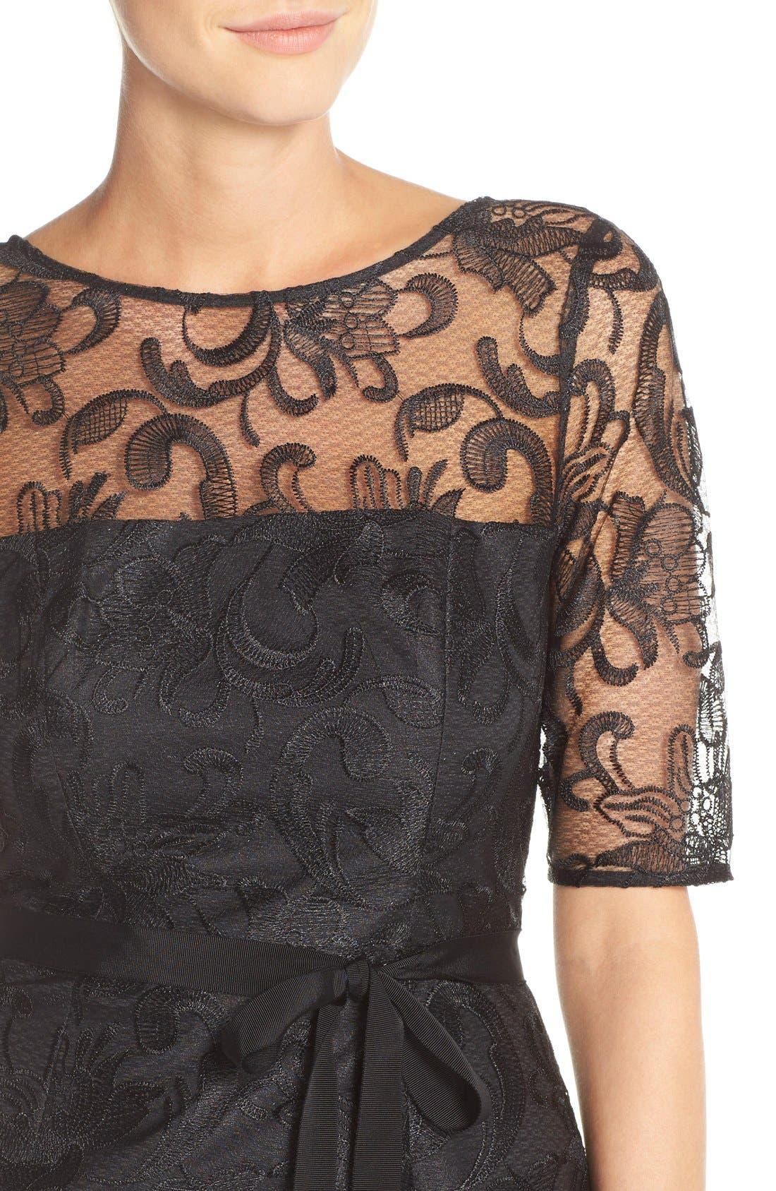 Illusion Yoke Lace Sheath Dress,                             Alternate thumbnail 3, color,                             001