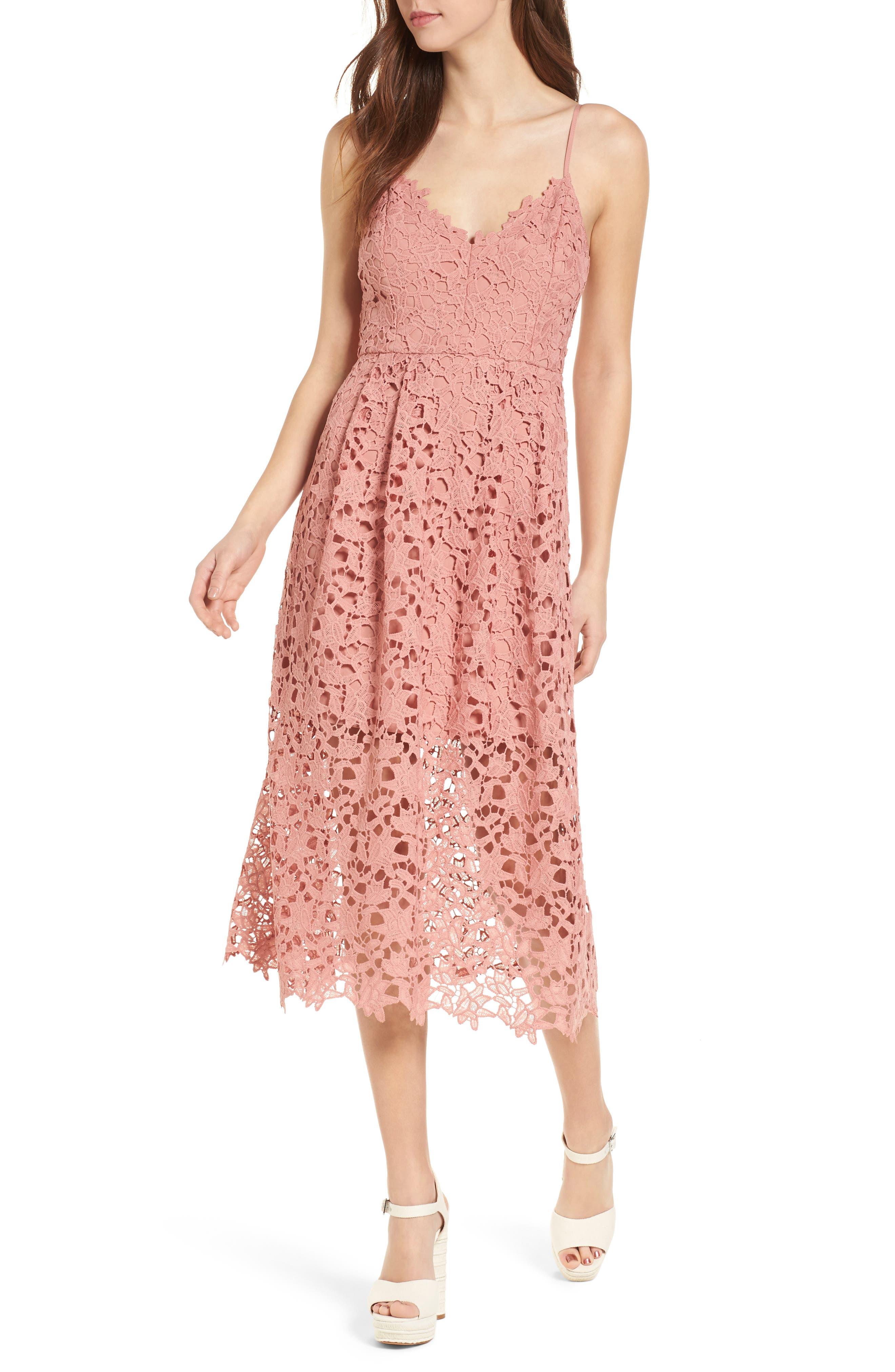 Lace Midi Dress,                             Main thumbnail 1, color,                             DARK BLUSH