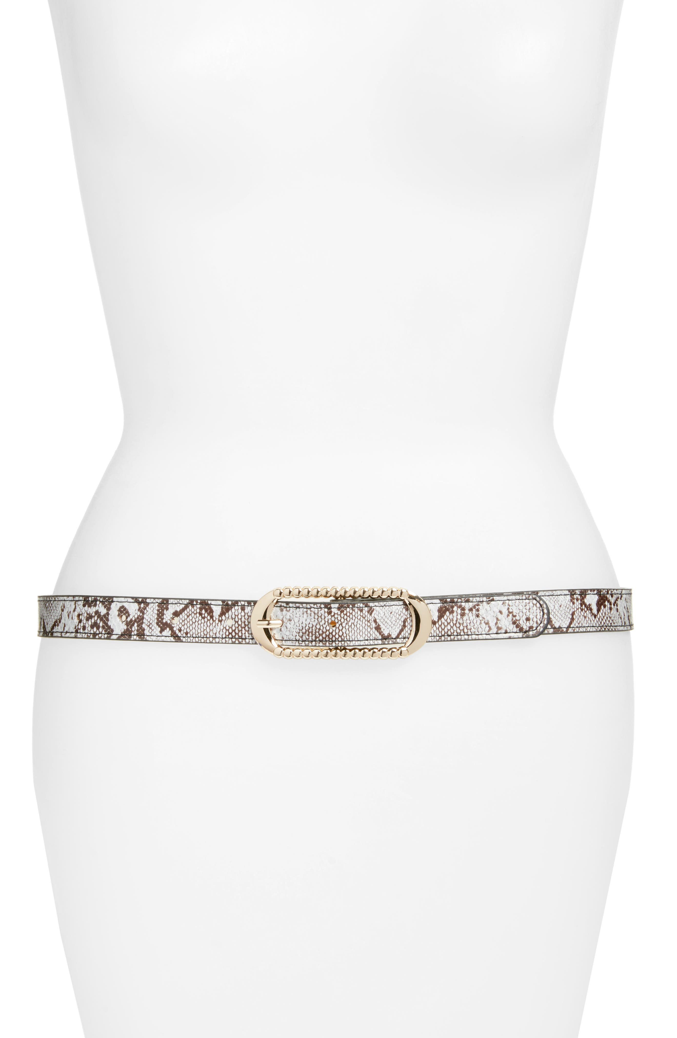 Lola Snake Embossed Faux Leather Skinny Belt,                             Main thumbnail 1, color,