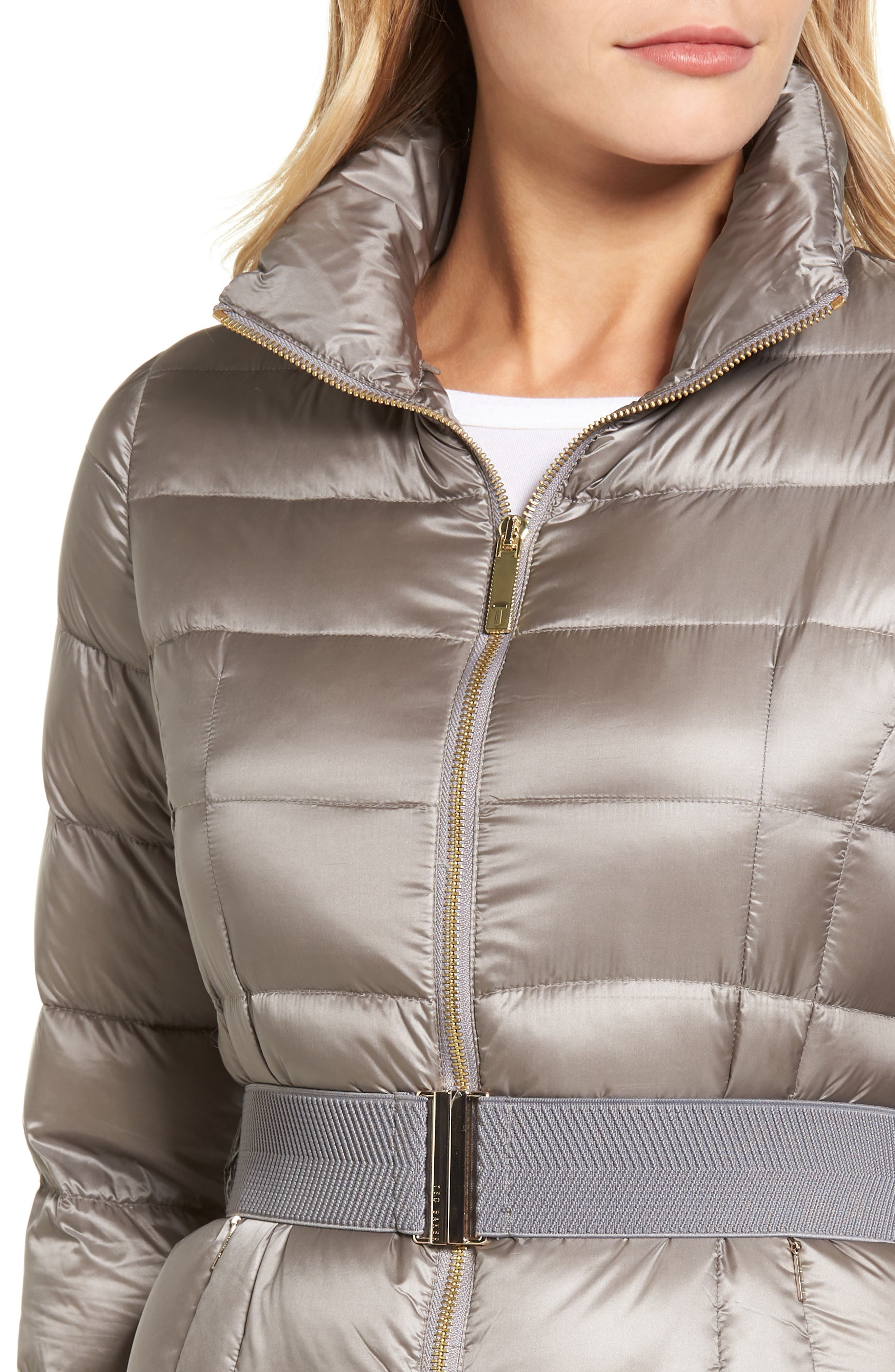 Puffer Jacket with Faux Fur Collar,                             Alternate thumbnail 4, color,                             050