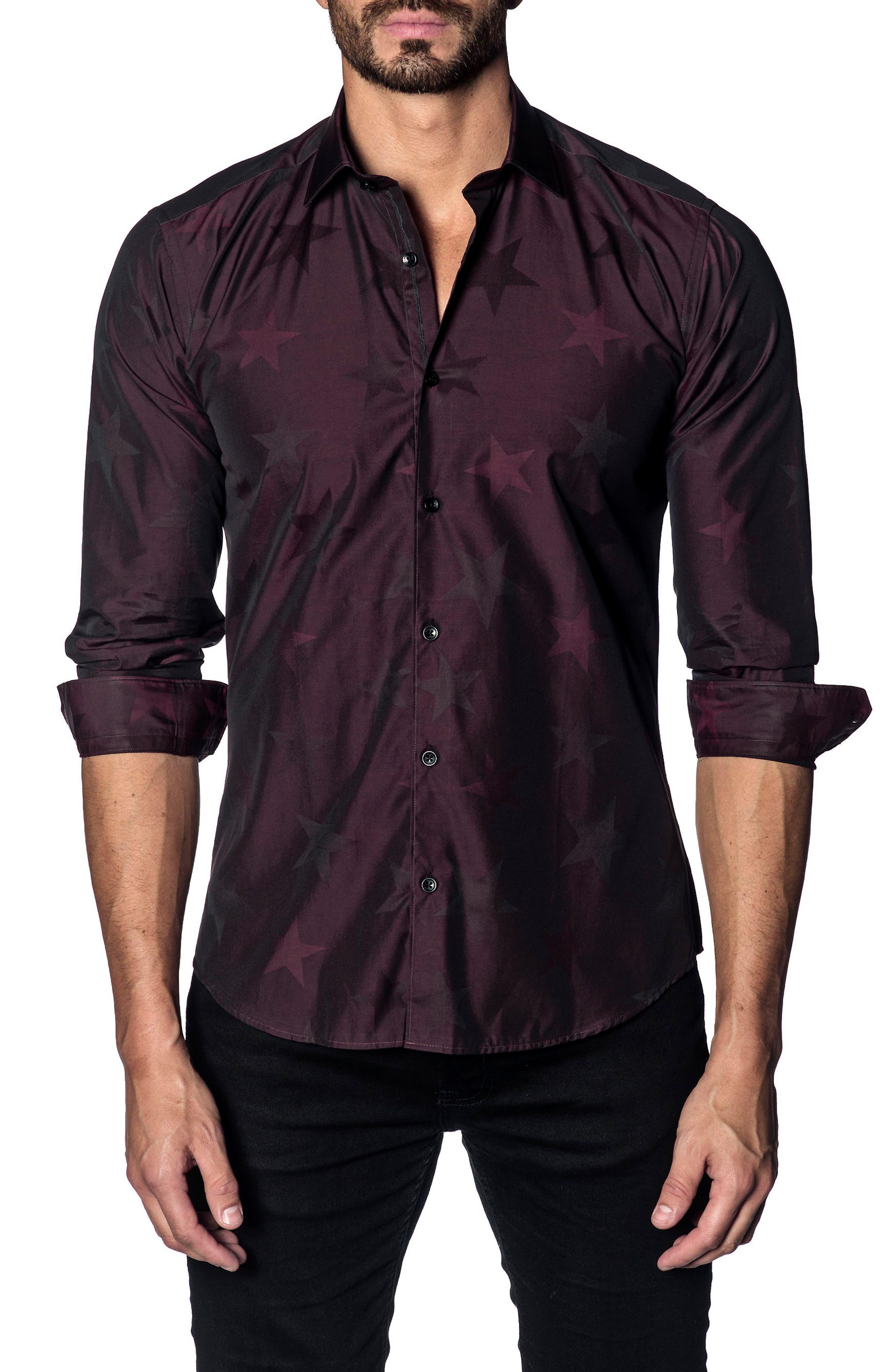 Trim Fit Sport Shirt,                         Main,                         color, BURGUNDY STARS