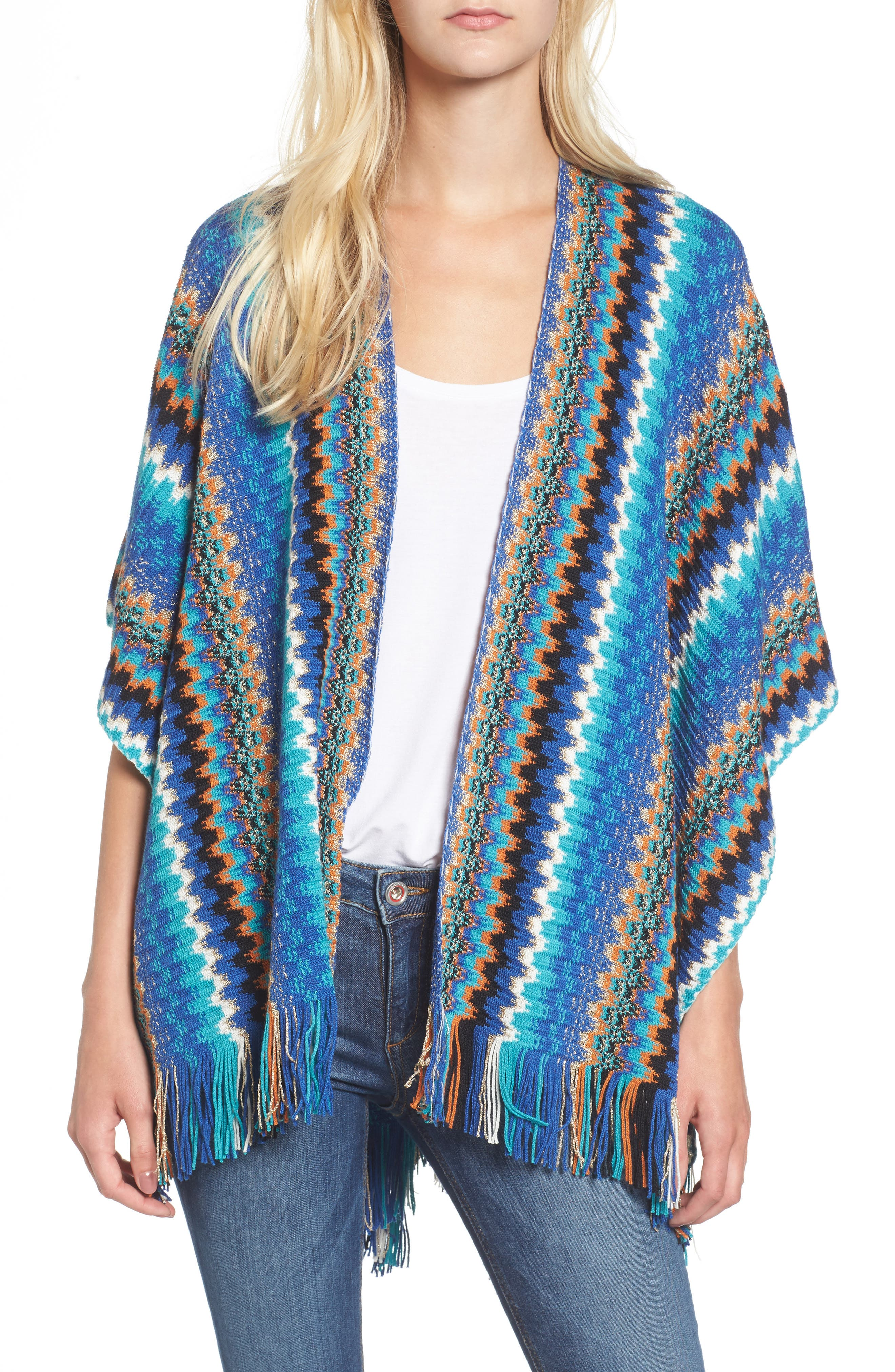 Fringe Zigzag Cape,                         Main,                         color, BLUE