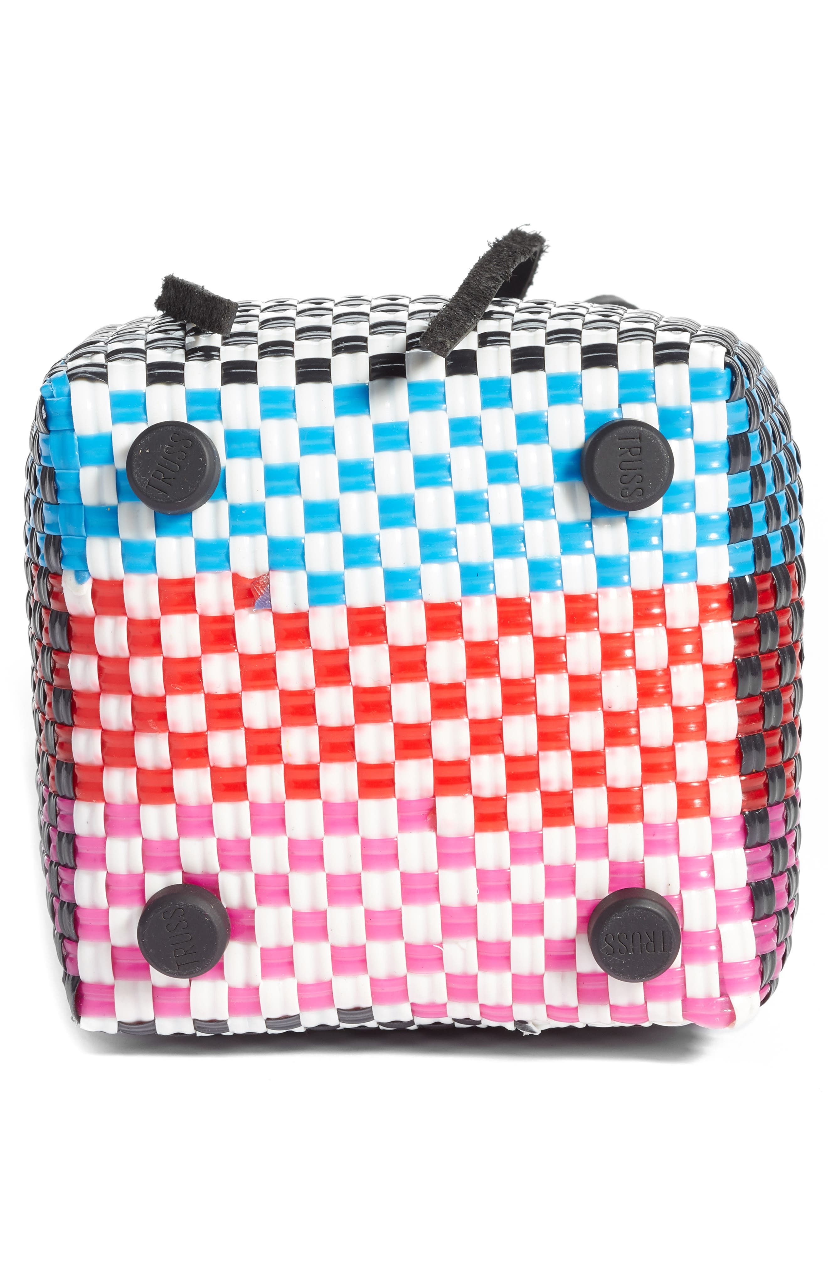 Party Woven Bucket Bag,                             Alternate thumbnail 6, color,                             FUCHSIA/ RED