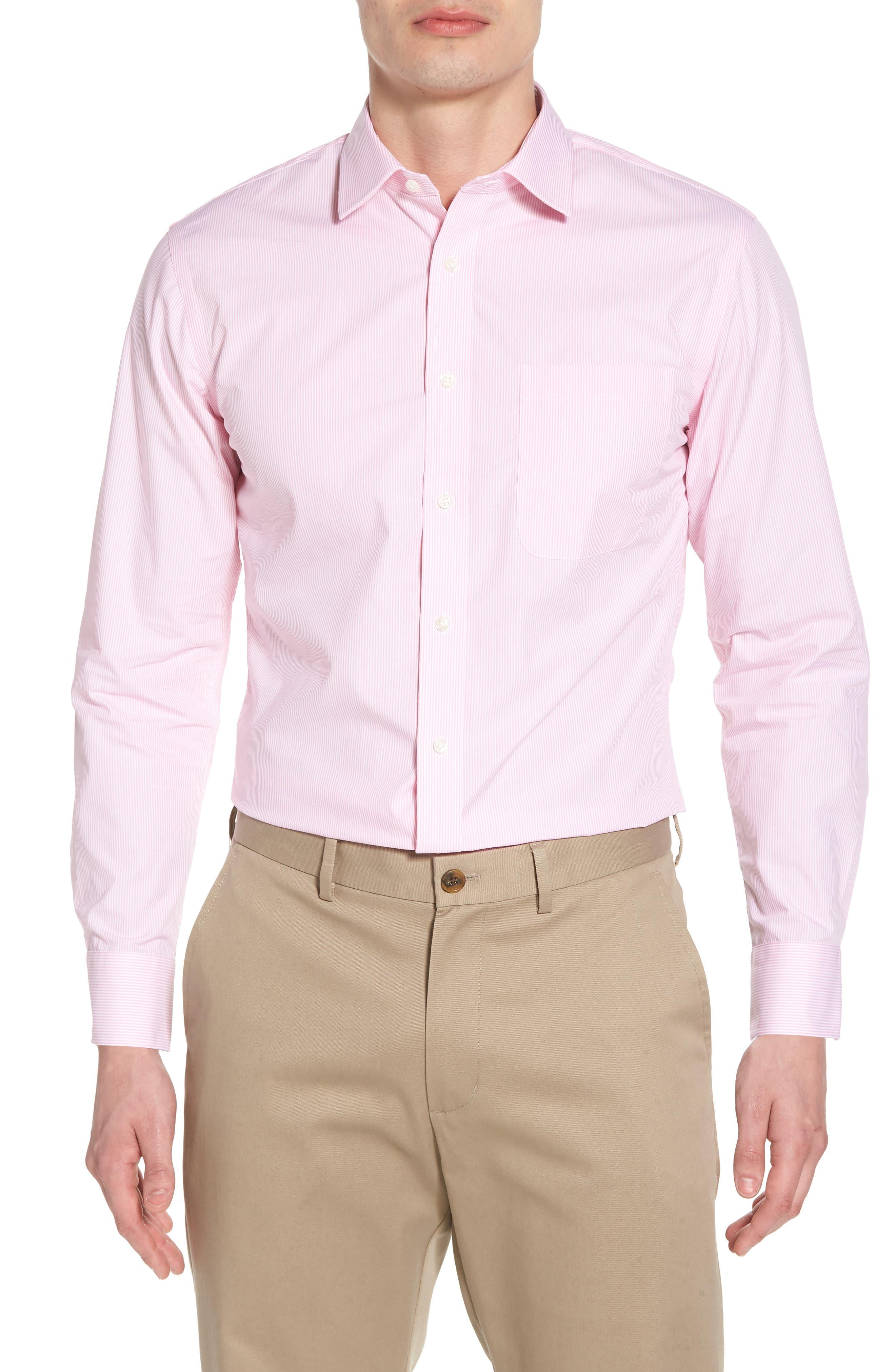 Trim Fit Non-Iron Stripe Dress Shirt,                             Main thumbnail 6, color,